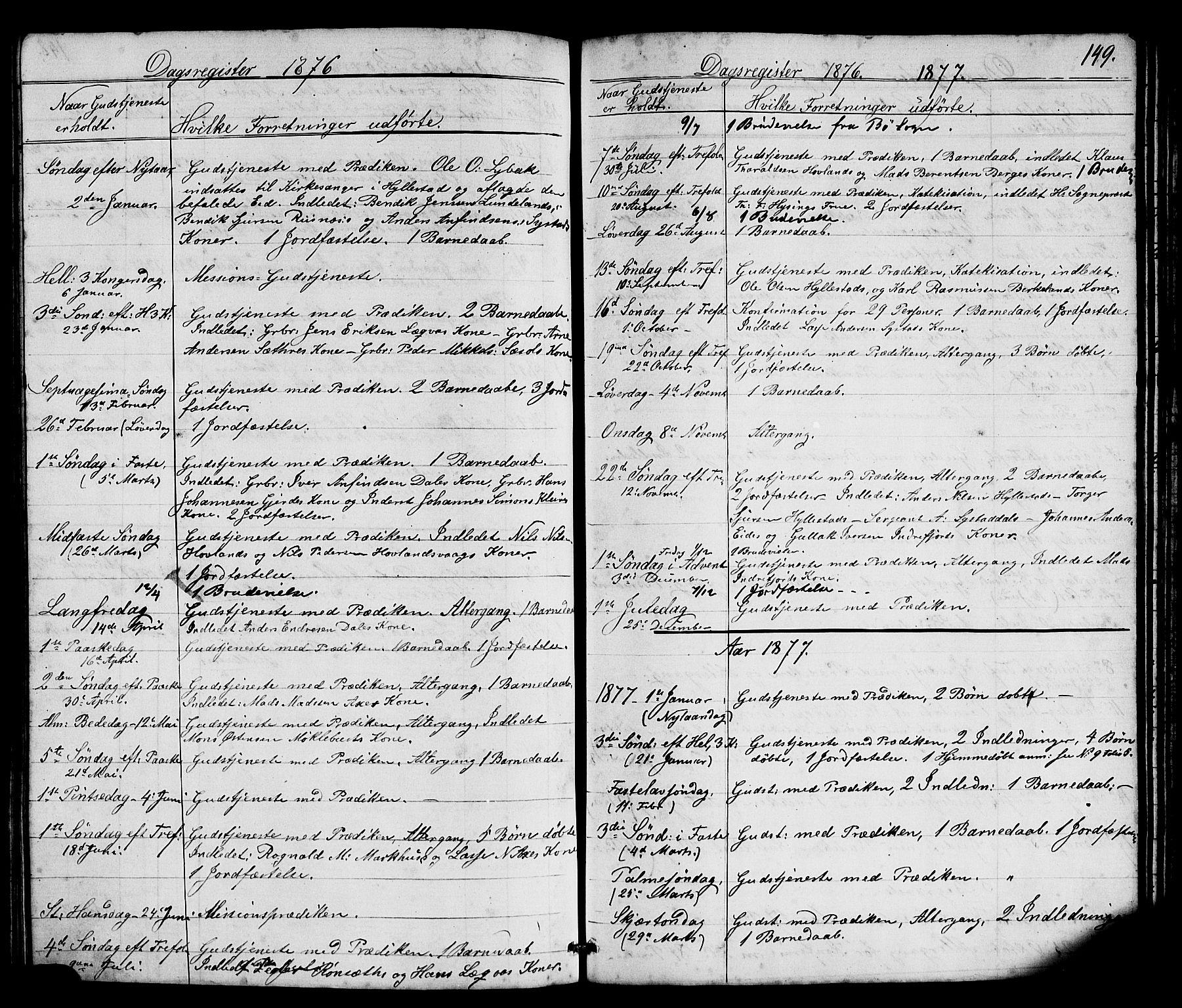 SAB, Hyllestad Sokneprestembete, Klokkerbok nr. A 2, 1876-1906, s. 149