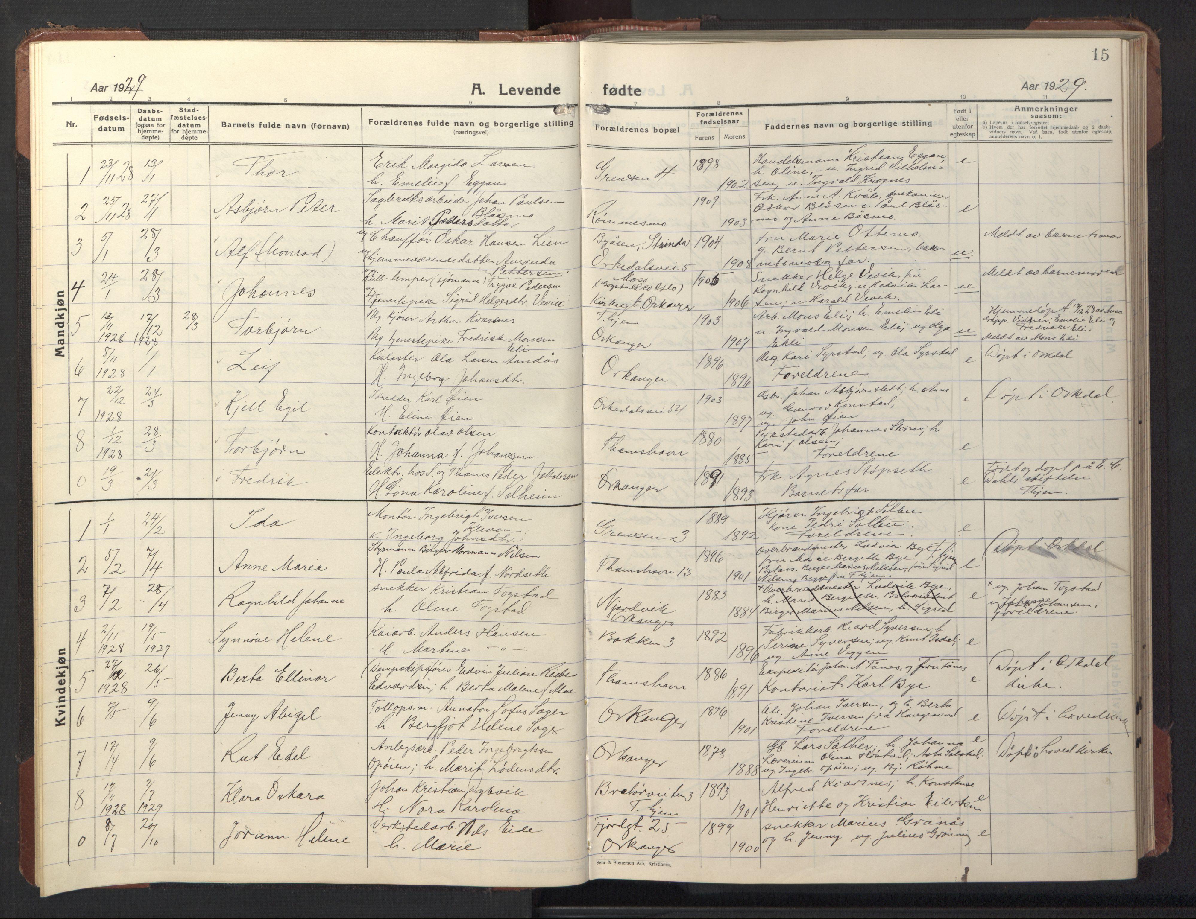SAT, Ministerialprotokoller, klokkerbøker og fødselsregistre - Sør-Trøndelag, 669/L0832: Klokkerbok nr. 669C02, 1925-1953, s. 15