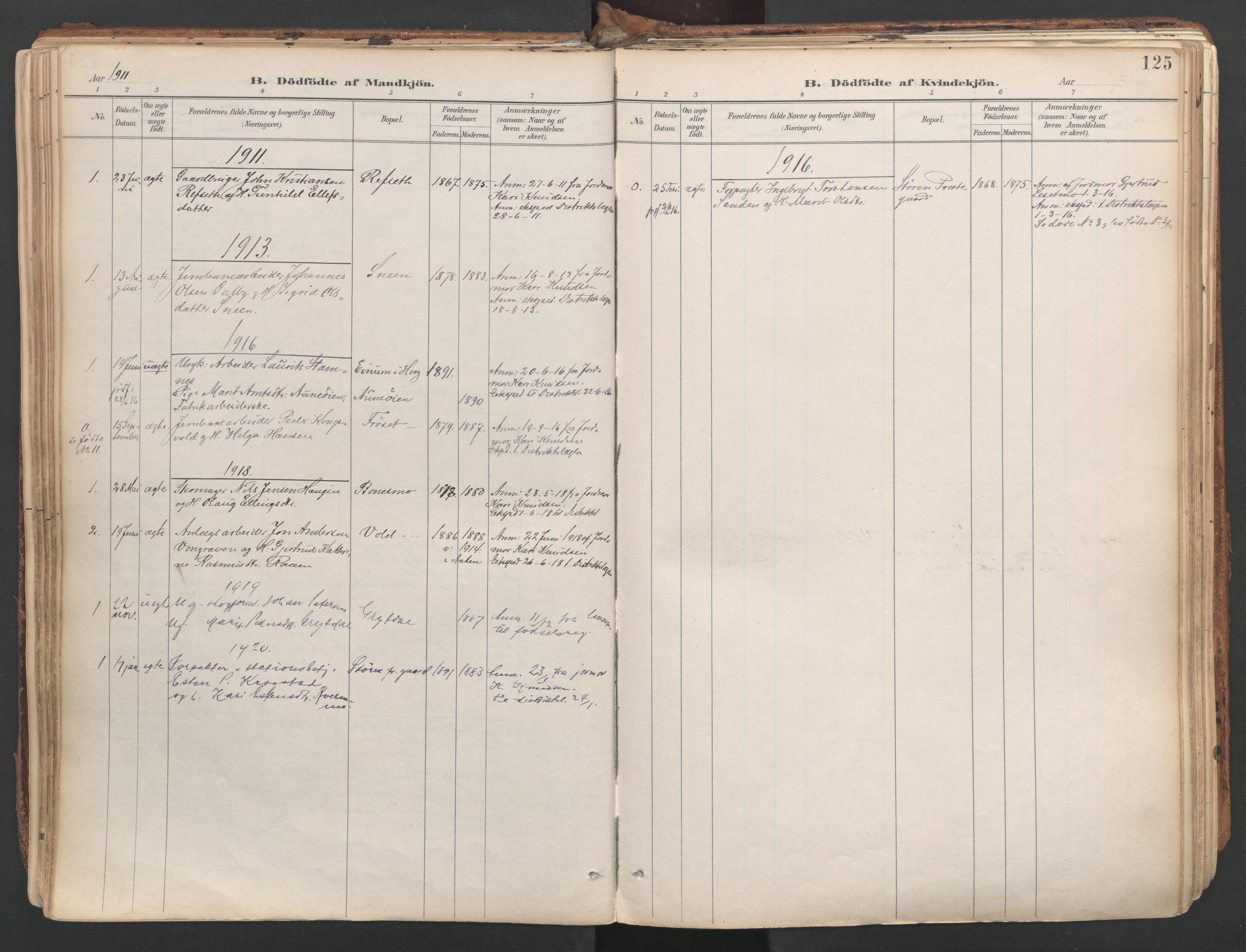 SAT, Ministerialprotokoller, klokkerbøker og fødselsregistre - Sør-Trøndelag, 687/L1004: Ministerialbok nr. 687A10, 1891-1923, s. 125