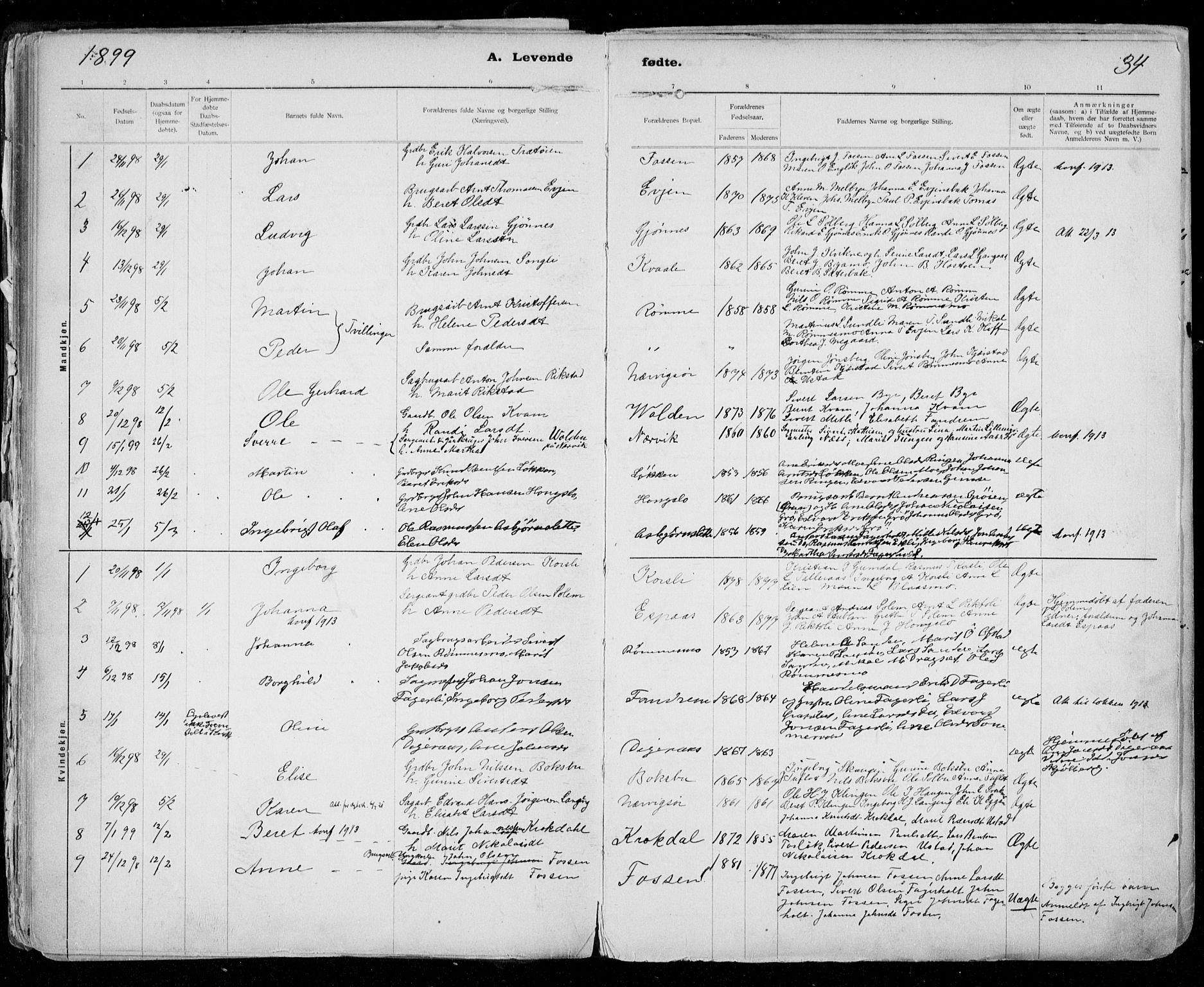SAT, Ministerialprotokoller, klokkerbøker og fødselsregistre - Sør-Trøndelag, 668/L0811: Ministerialbok nr. 668A11, 1894-1913, s. 34