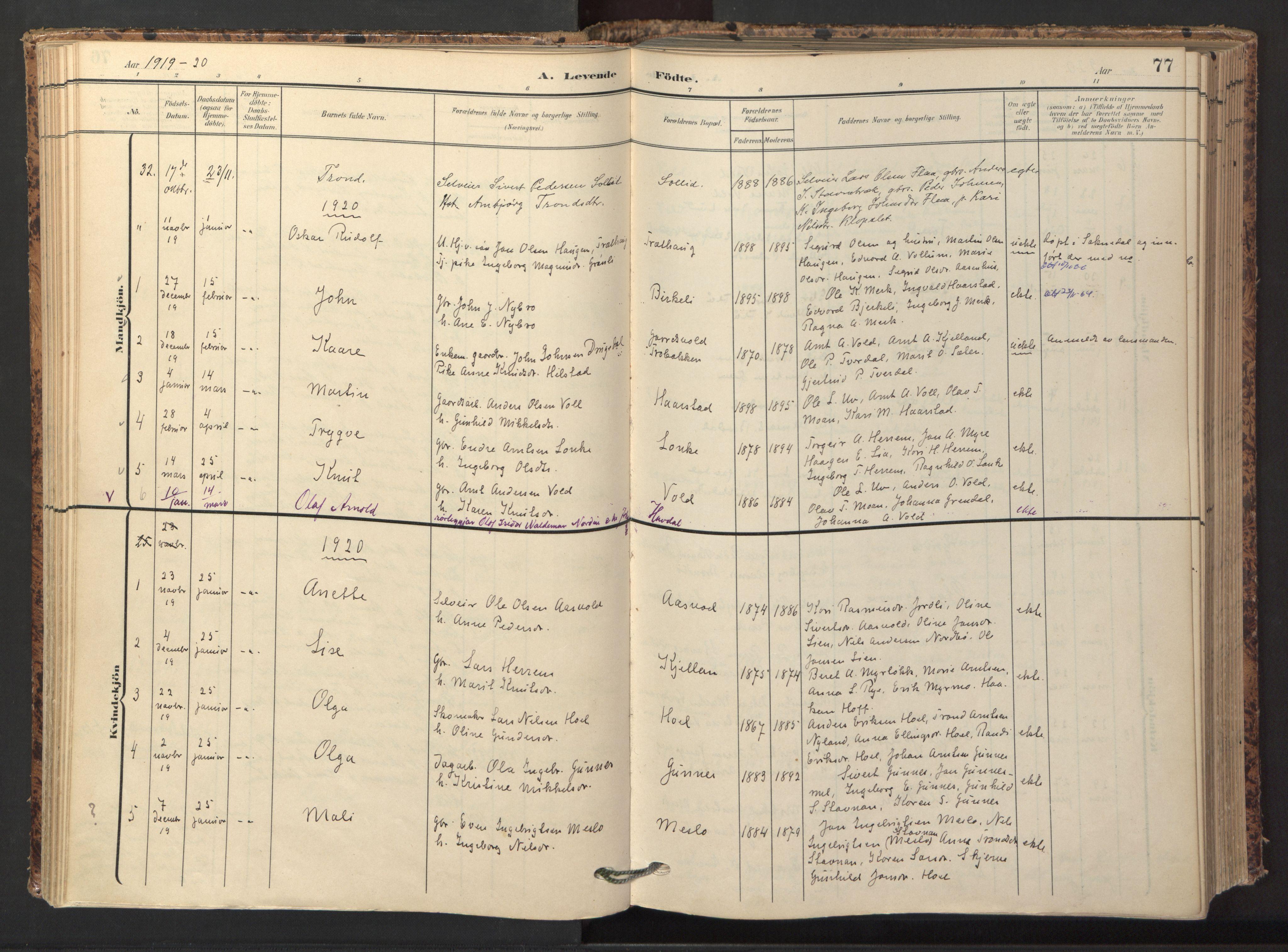 SAT, Ministerialprotokoller, klokkerbøker og fødselsregistre - Sør-Trøndelag, 674/L0873: Ministerialbok nr. 674A05, 1908-1923, s. 77