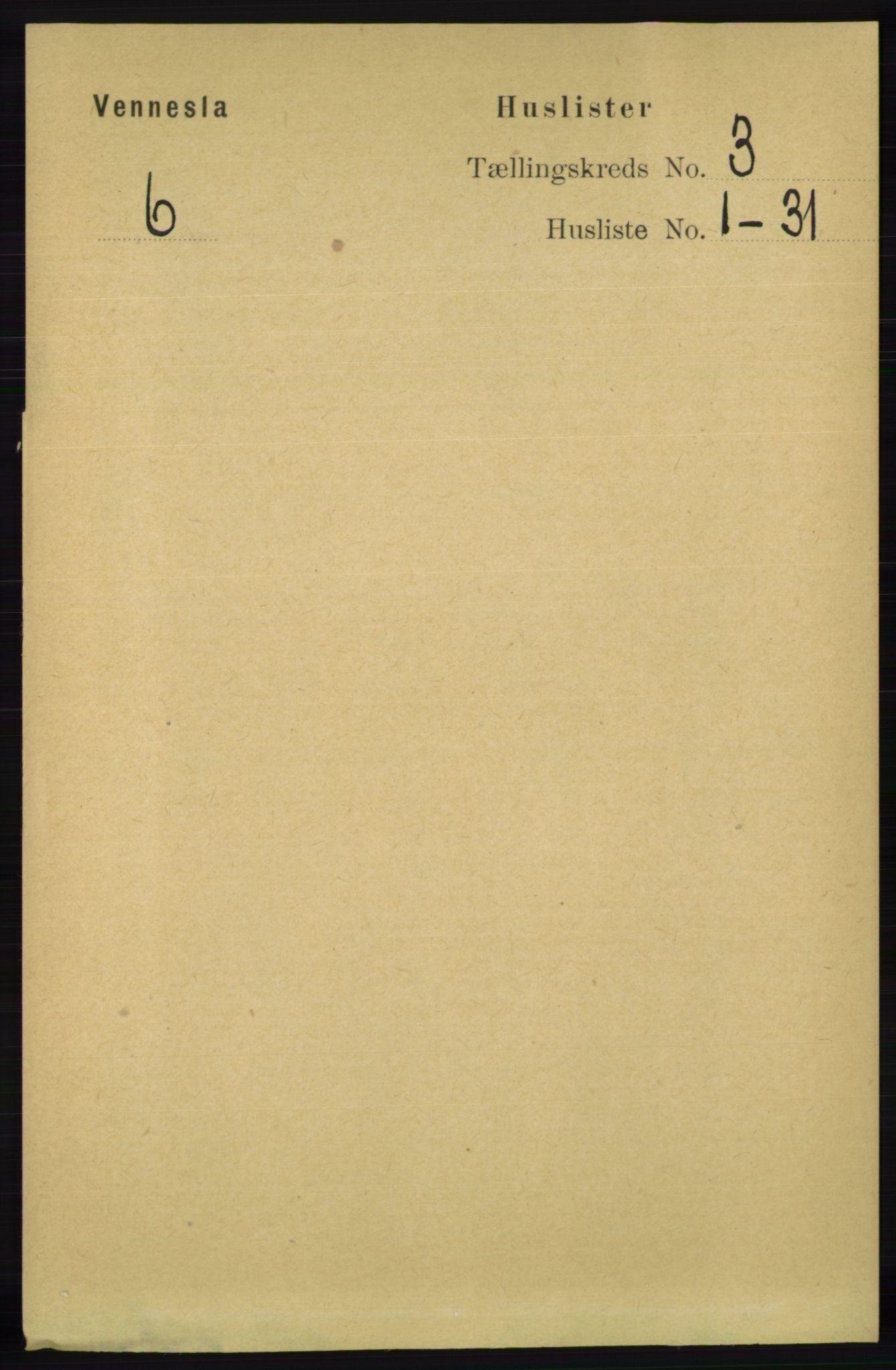RA, Folketelling 1891 for 1014 Vennesla herred, 1891, s. 607