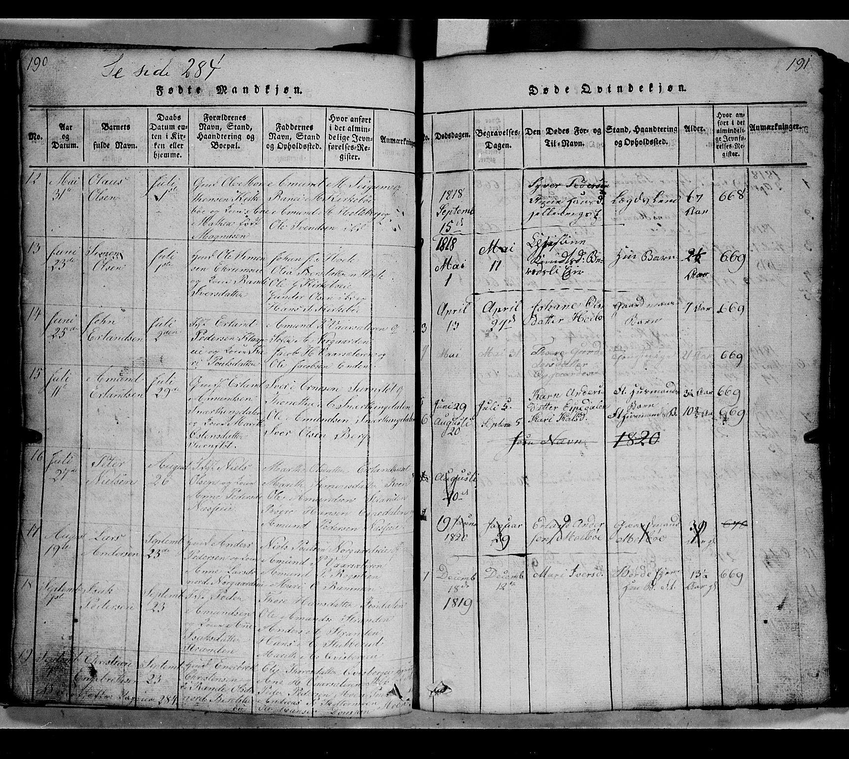 SAH, Gausdal prestekontor, Klokkerbok nr. 2, 1818-1874, s. 190-191