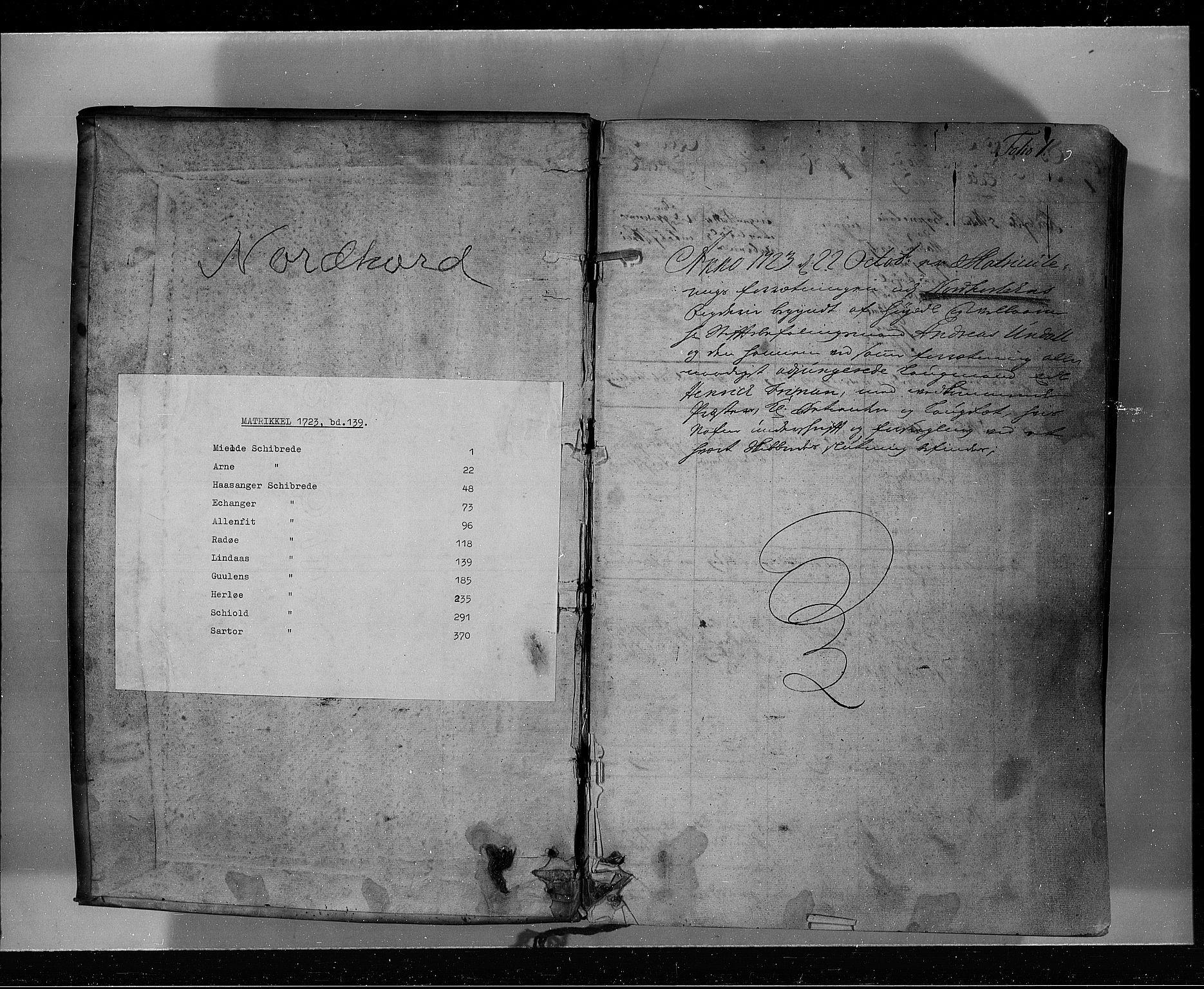 RA, Rentekammeret inntil 1814, Realistisk ordnet avdeling, N/Nb/Nbf/L0139: Nordhordland eksaminasjonsprotokoll, 1723, s. 1a