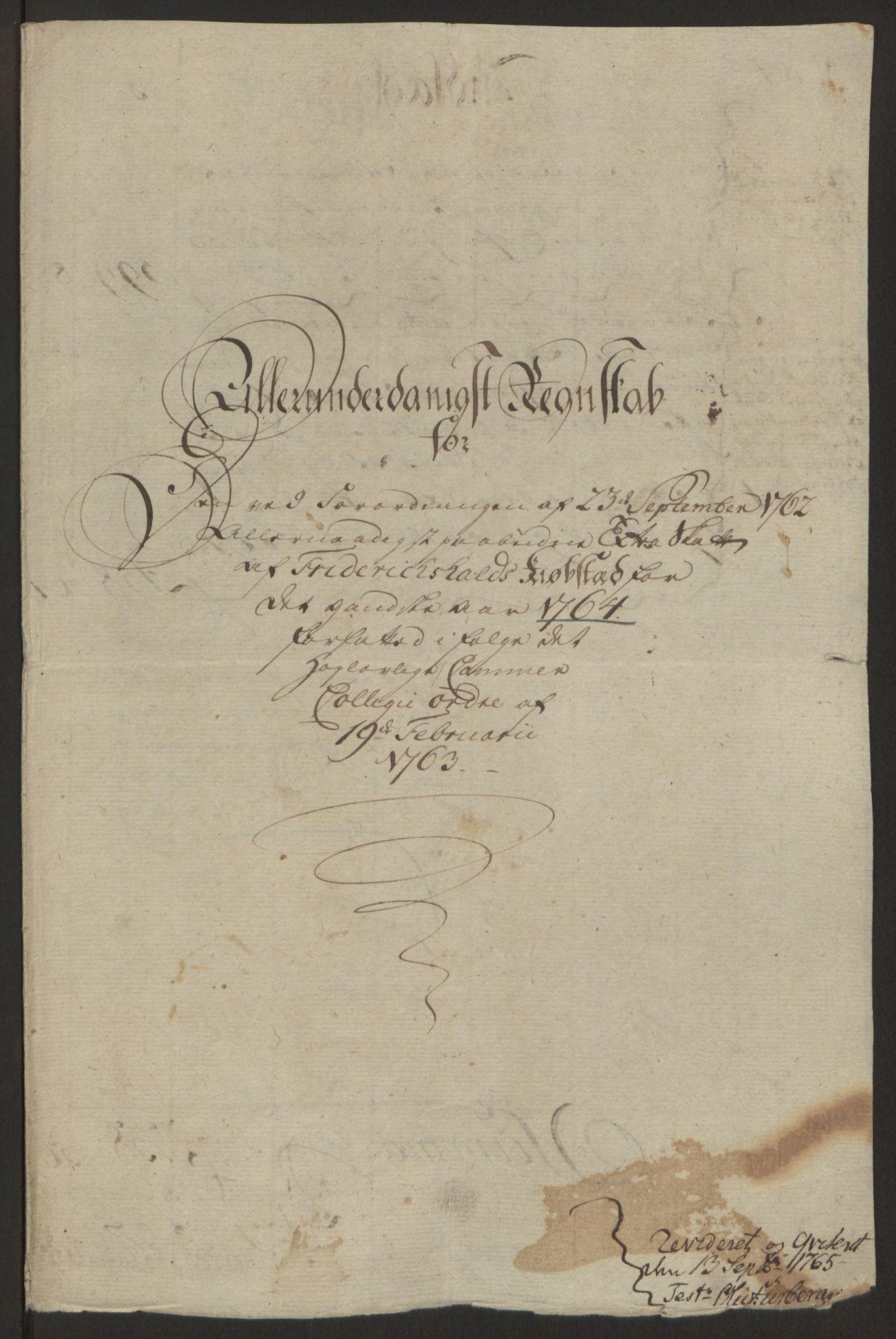 RA, Rentekammeret inntil 1814, Reviderte regnskaper, Byregnskaper, R/Ra/L0006: [A4] Kontribusjonsregnskap, 1762-1772, s. 110