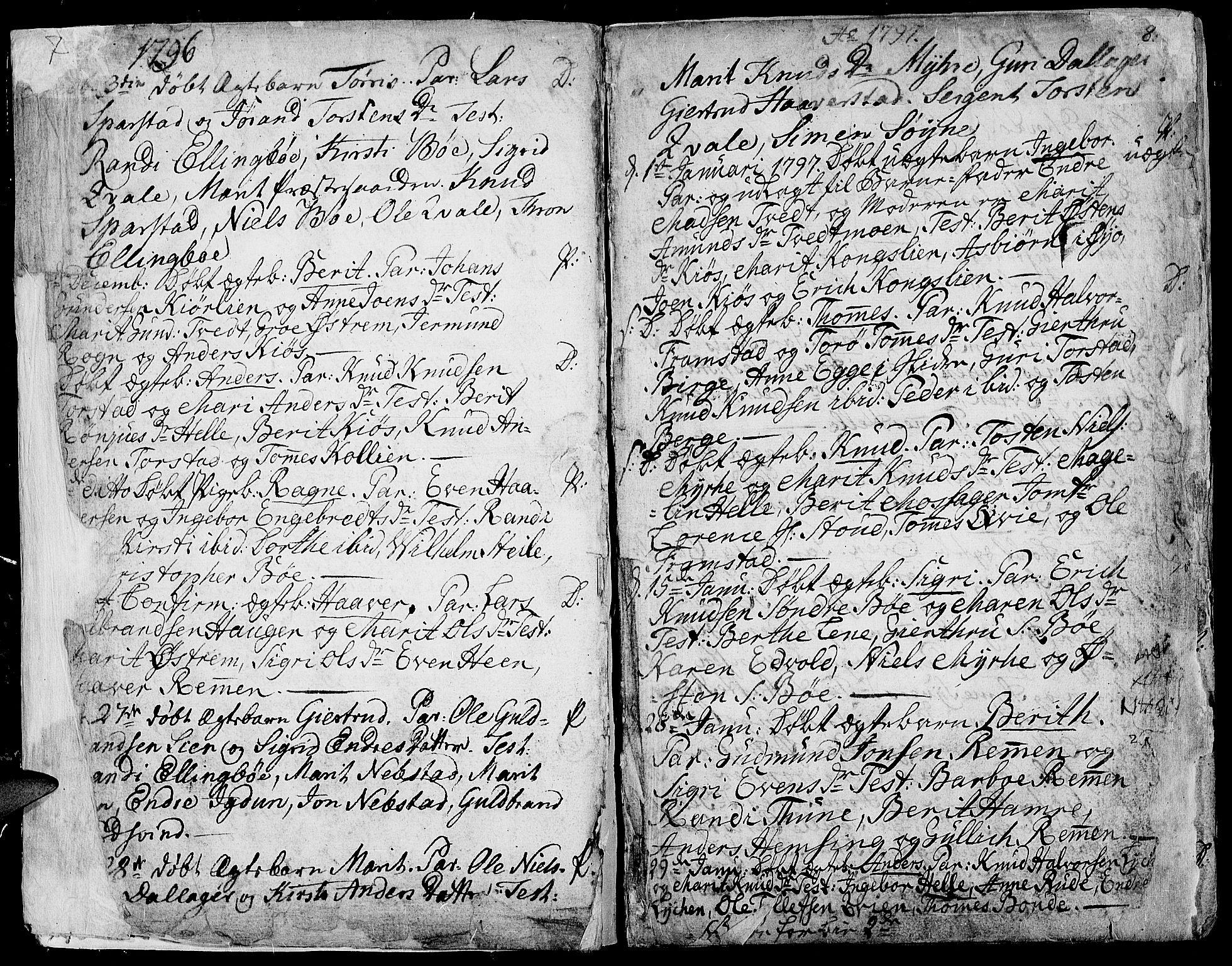 SAH, Vang prestekontor, Valdres, Ministerialbok nr. 2, 1796-1808, s. 7-8