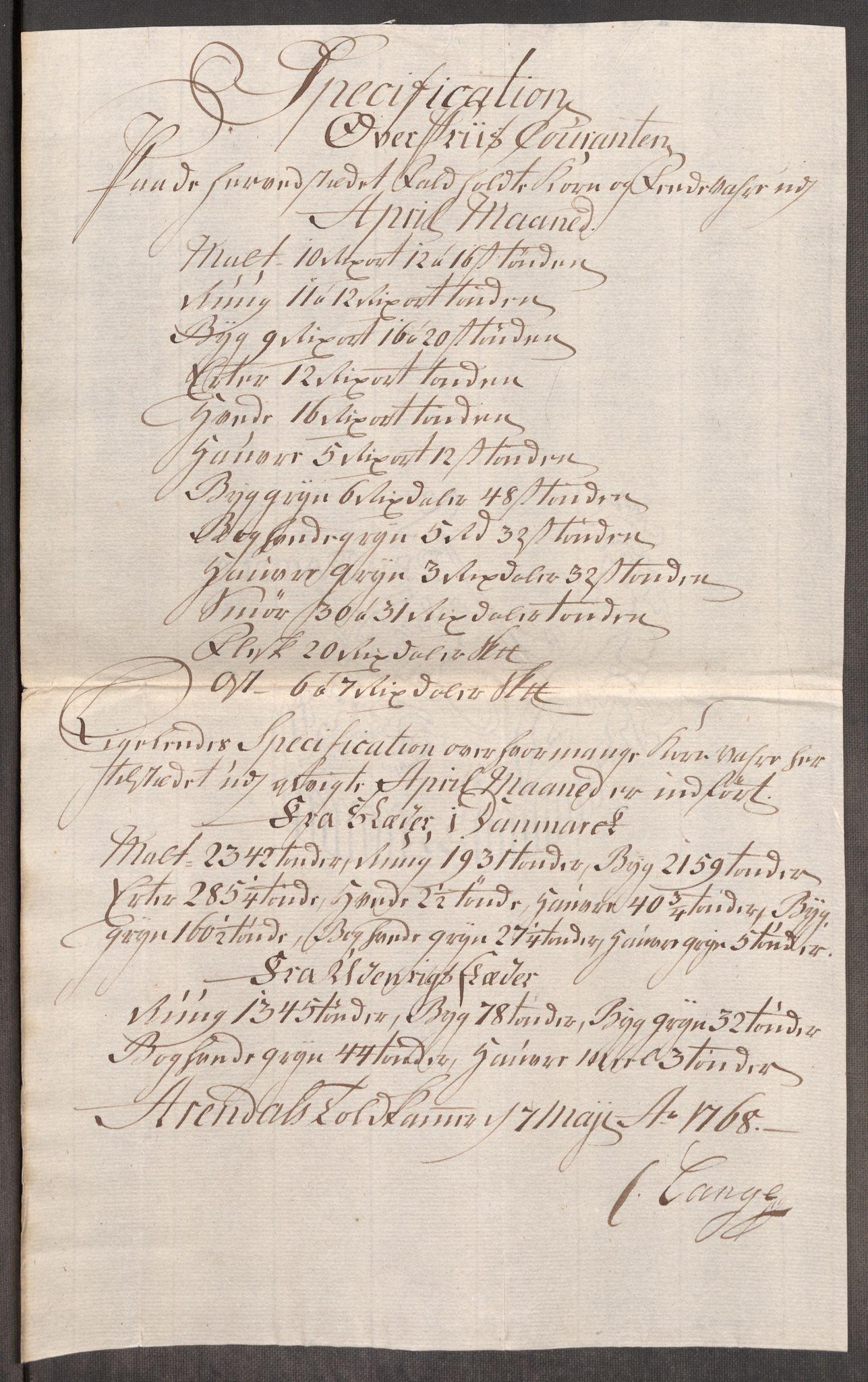 RA, Rentekammeret inntil 1814, Realistisk ordnet avdeling, Oe/L0008: [Ø1]: Priskuranter, 1764-1768, s. 709