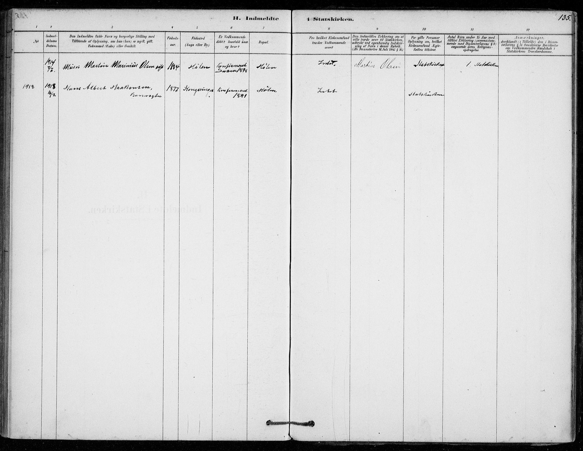 SAO, Vestby prestekontor Kirkebøker, F/Fe/L0001: Ministerialbok nr. V 1, 1878-1931, s. 135