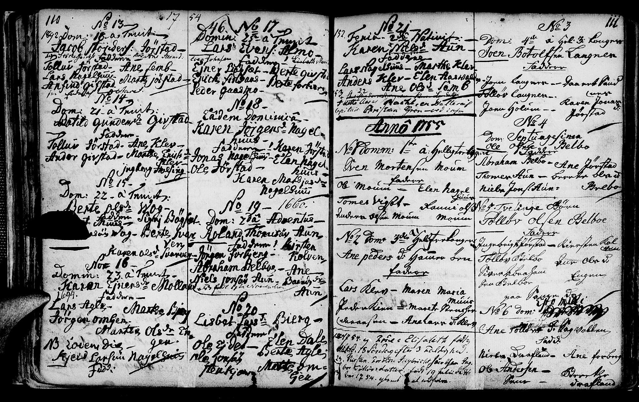 SAT, Ministerialprotokoller, klokkerbøker og fødselsregistre - Nord-Trøndelag, 749/L0467: Ministerialbok nr. 749A01, 1733-1787, s. 110-111