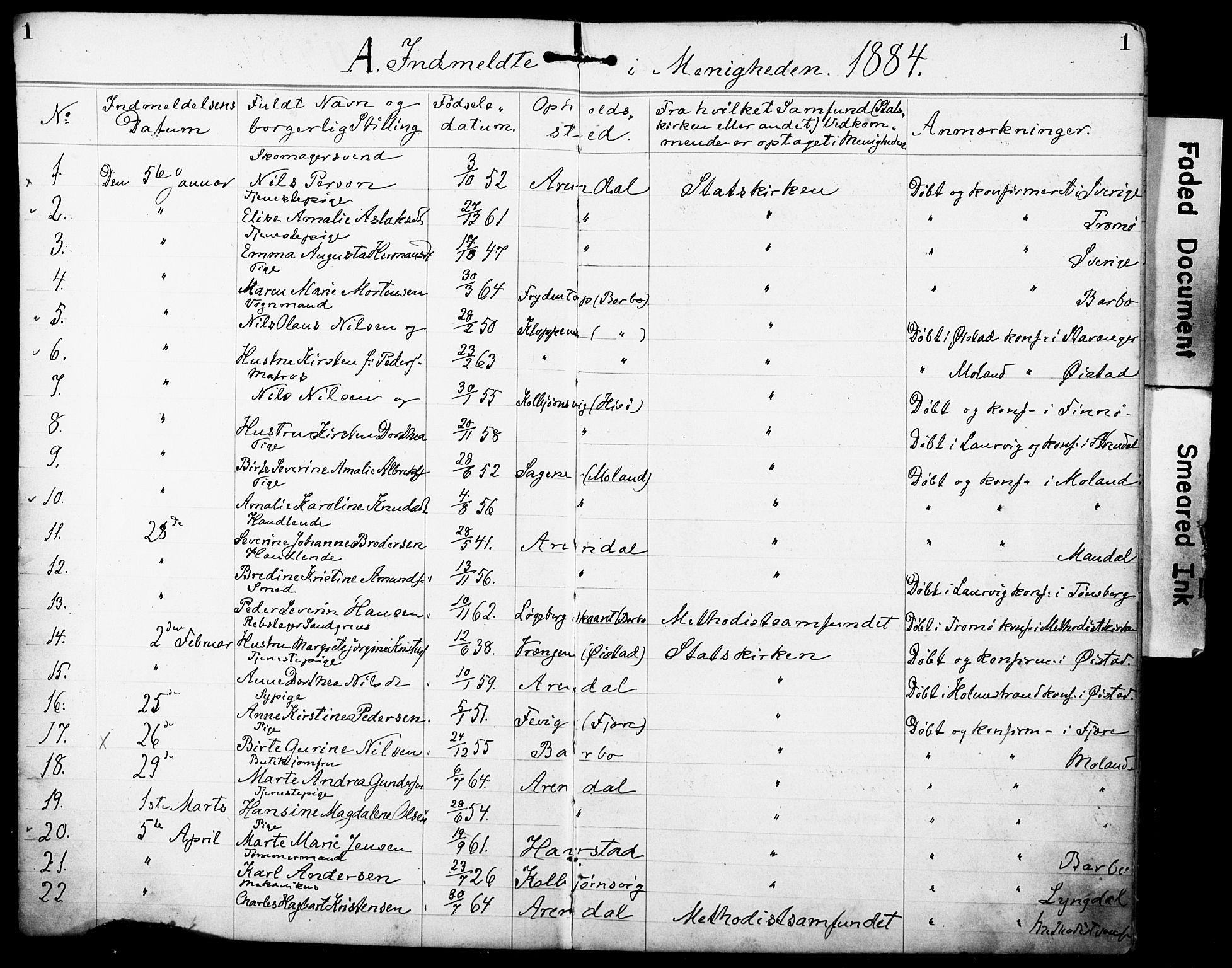 SAK, Den evangelisk-lutherske frimenighet, Arendal, F/Fa/L0002: Dissenterprotokoll nr. F 6, 1884-1908, s. 1