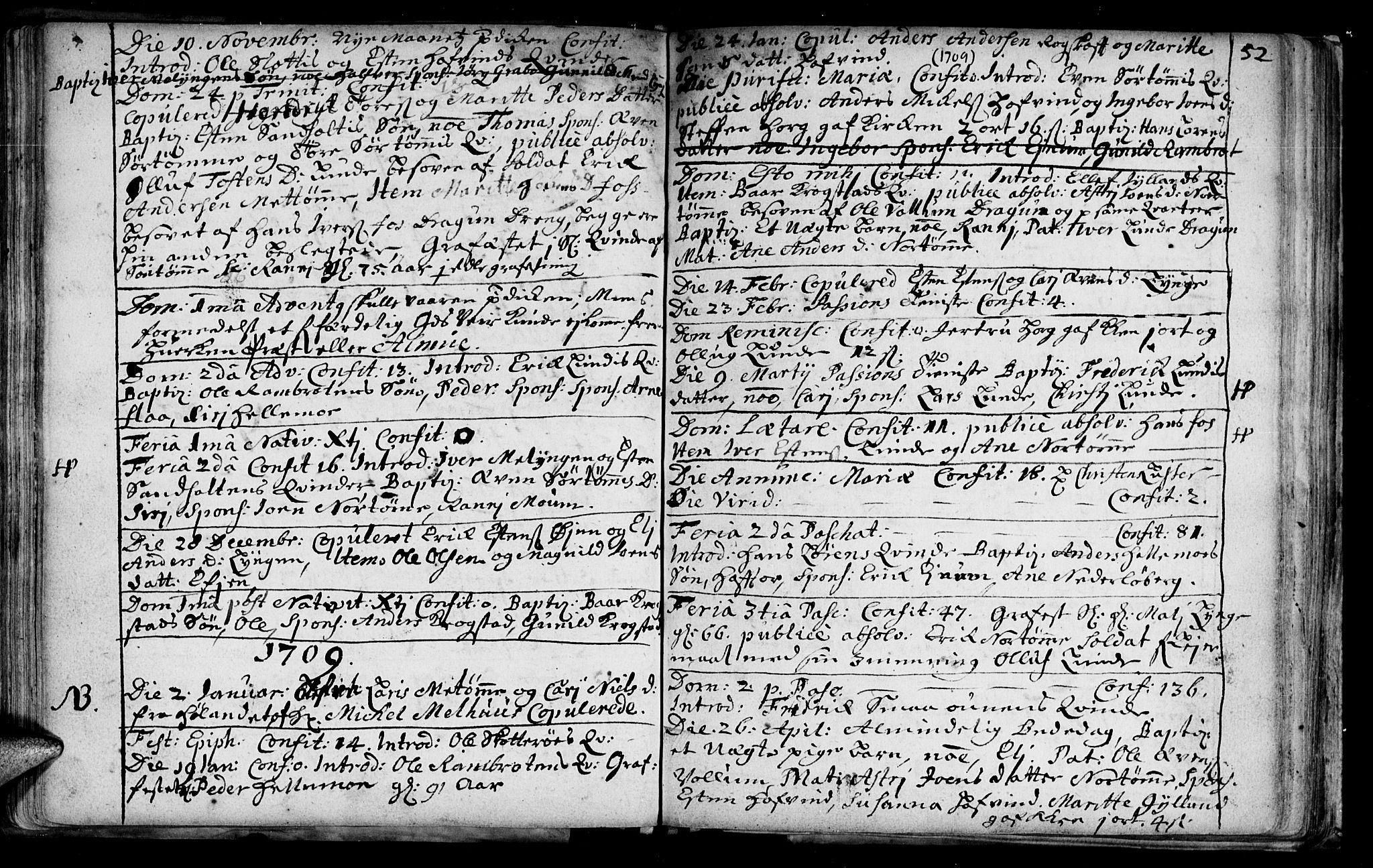SAT, Ministerialprotokoller, klokkerbøker og fødselsregistre - Sør-Trøndelag, 692/L1101: Ministerialbok nr. 692A01, 1690-1746, s. 52