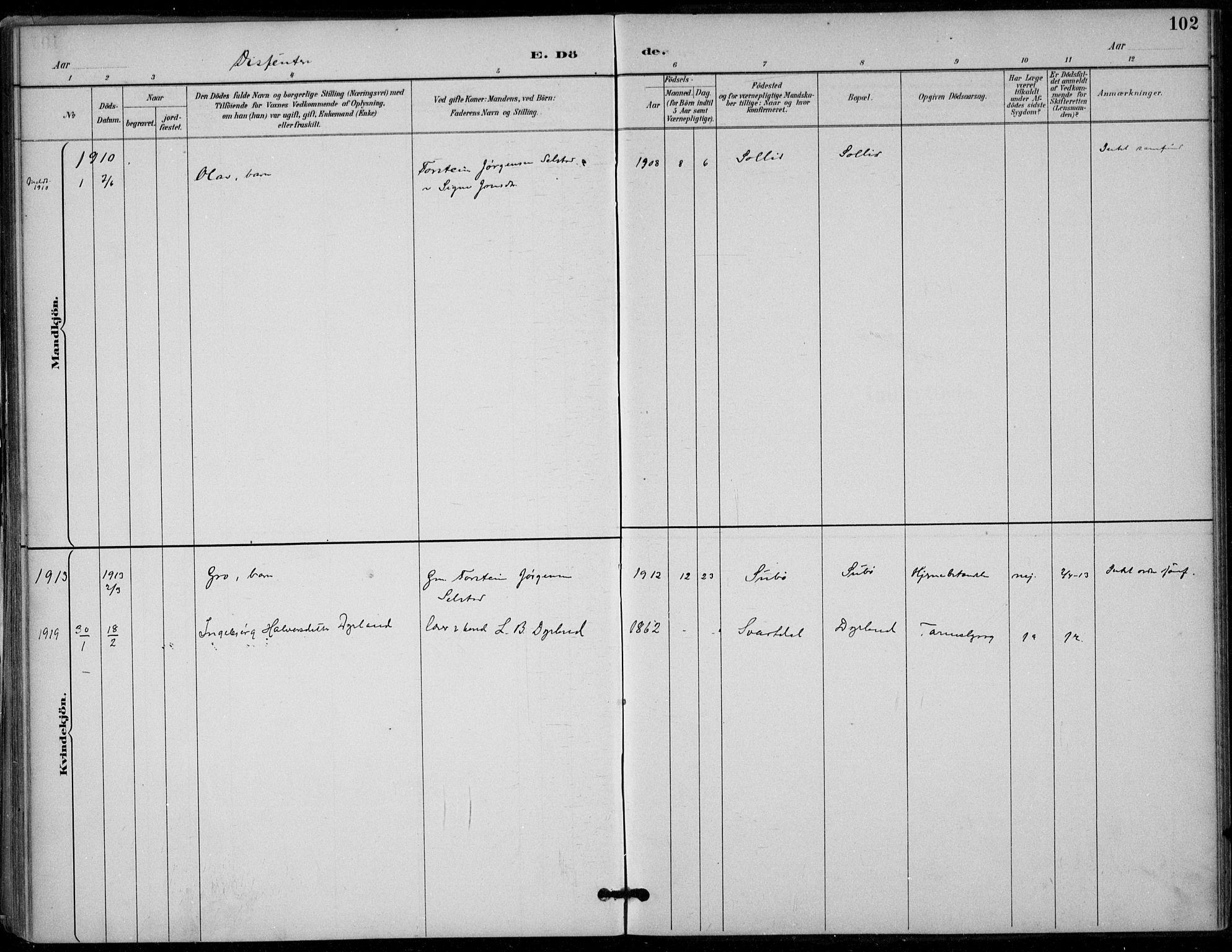 SAKO, Seljord kirkebøker, F/Fc/L0002: Ministerialbok nr. III 2, 1887-1920, s. 102
