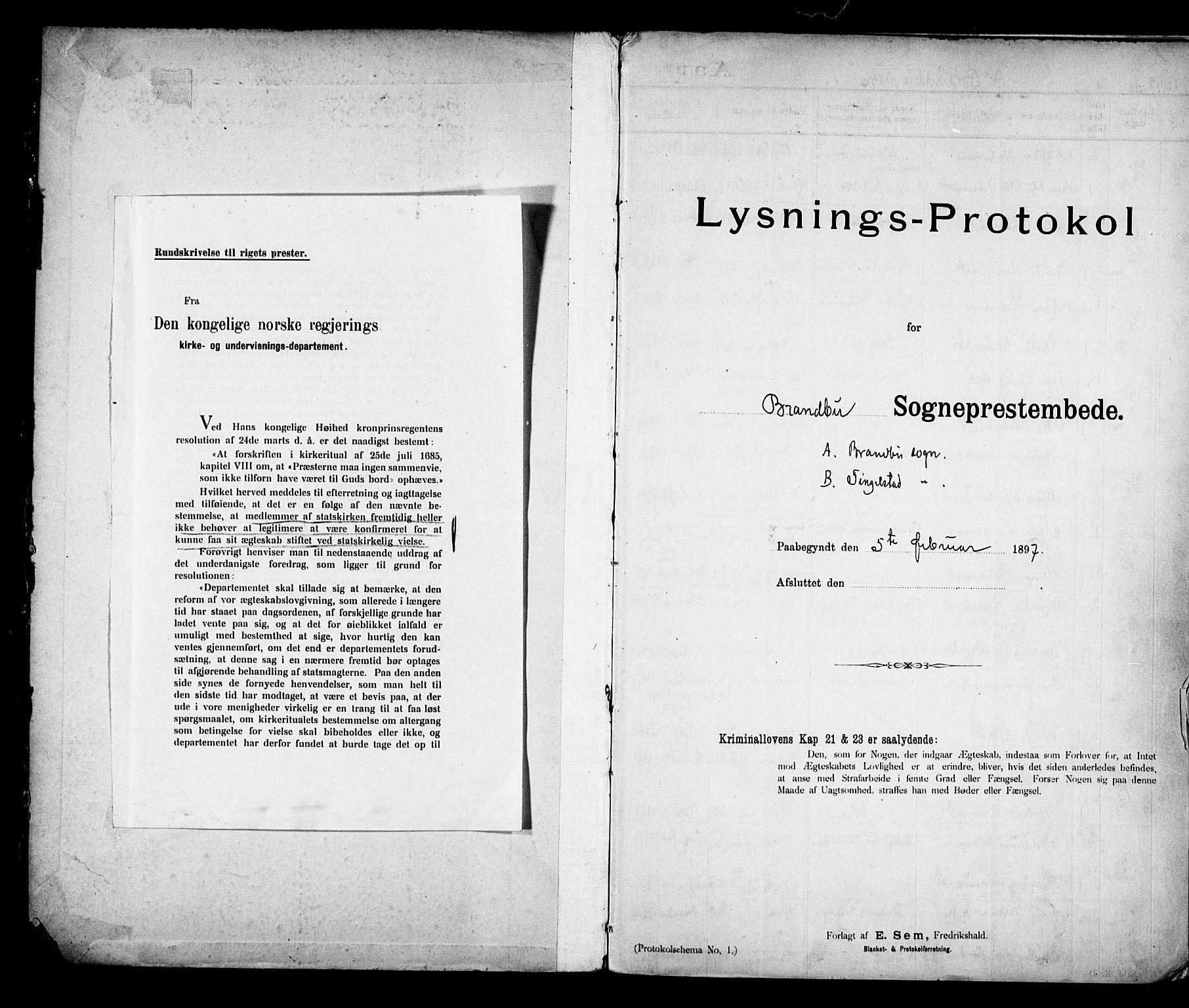 SAH, Brandbu prestekontor, Lysningsprotokoll nr. 1, 1897-1914