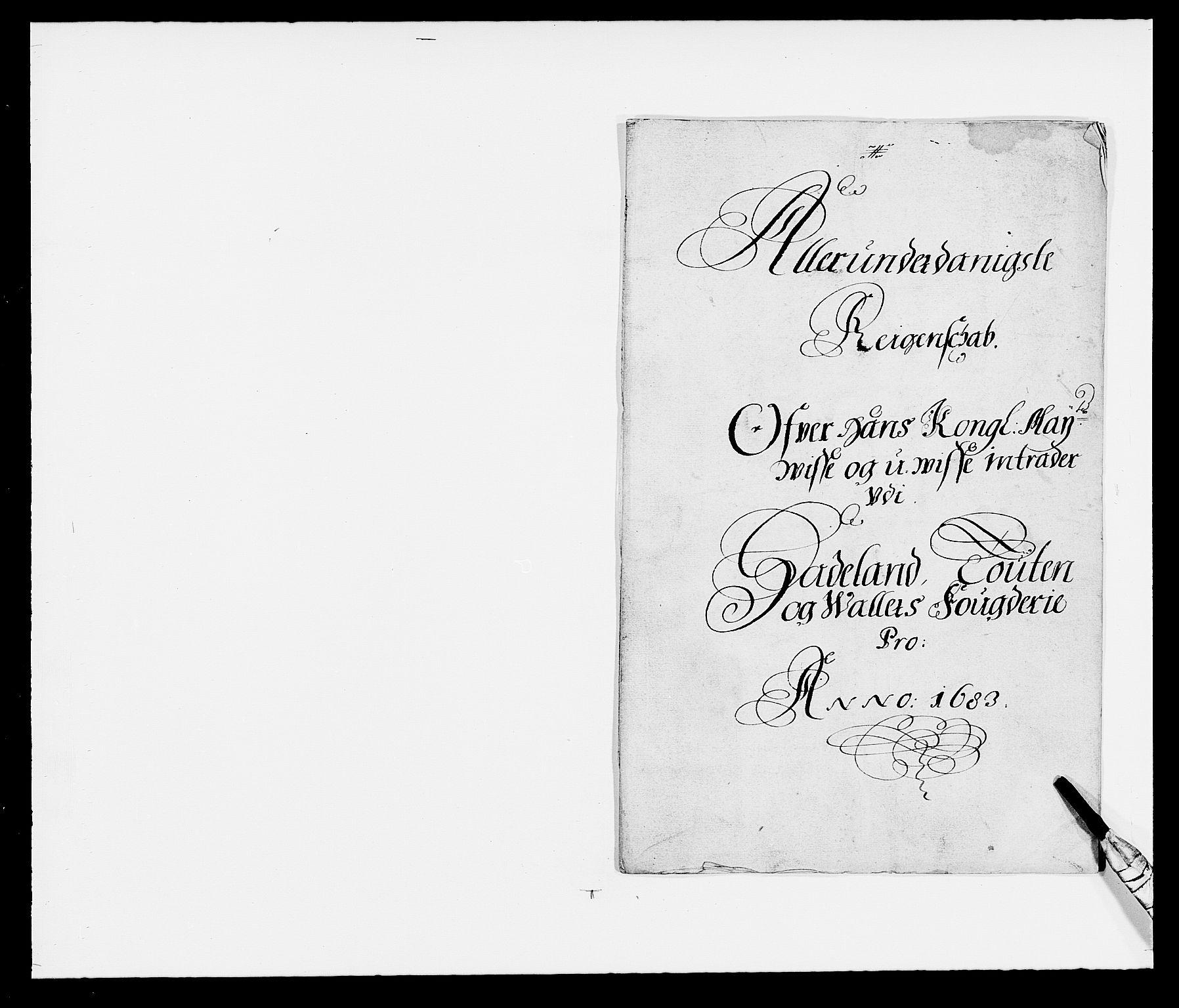 RA, Rentekammeret inntil 1814, Reviderte regnskaper, Fogderegnskap, R18/L1282: Fogderegnskap Hadeland, Toten og Valdres, 1683, s. 2