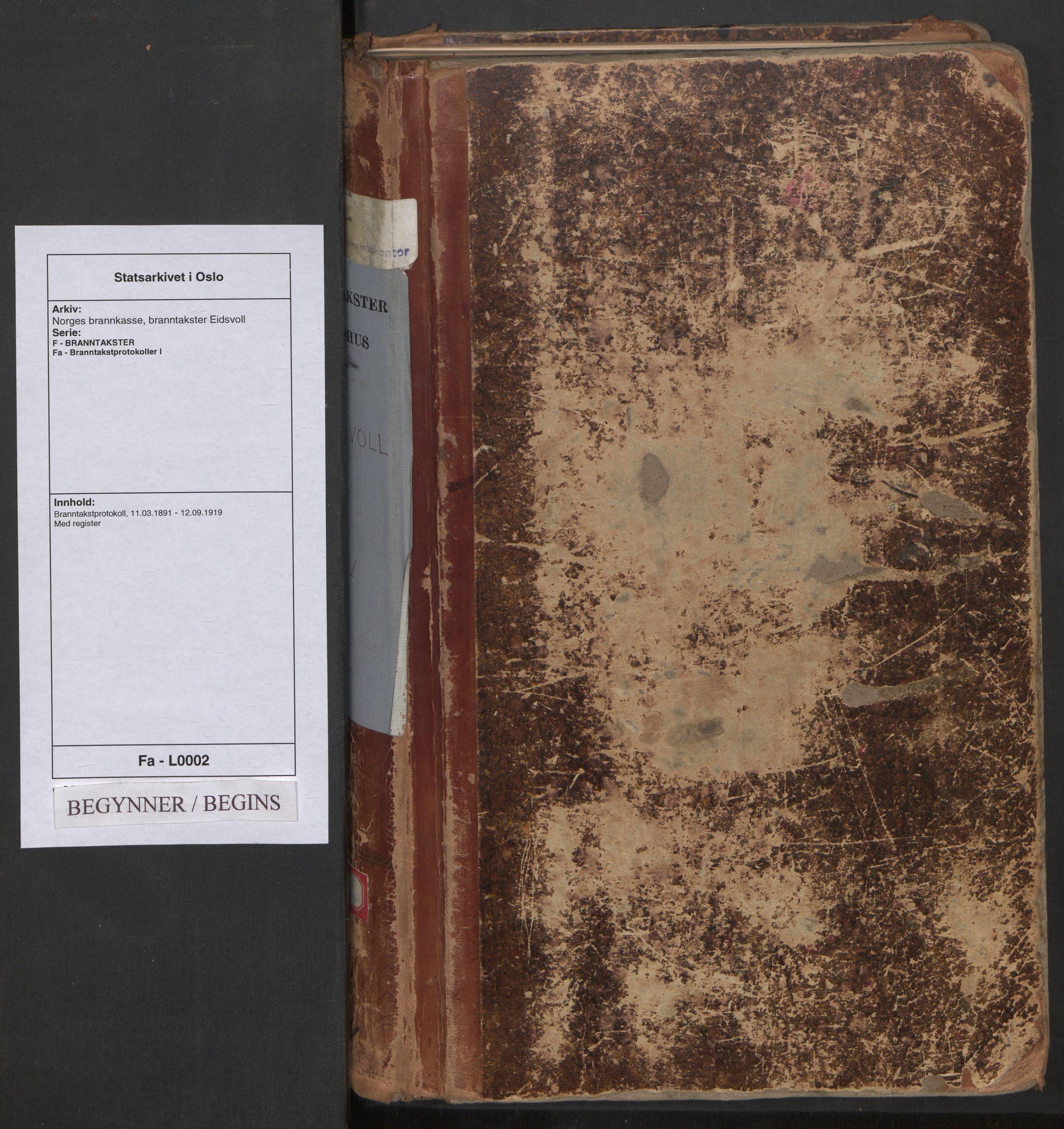 SAO, Norges brannkasse, branntakster Eidsvoll, F/Fa/L0002: Branntakstprotokoll, 1891-1919