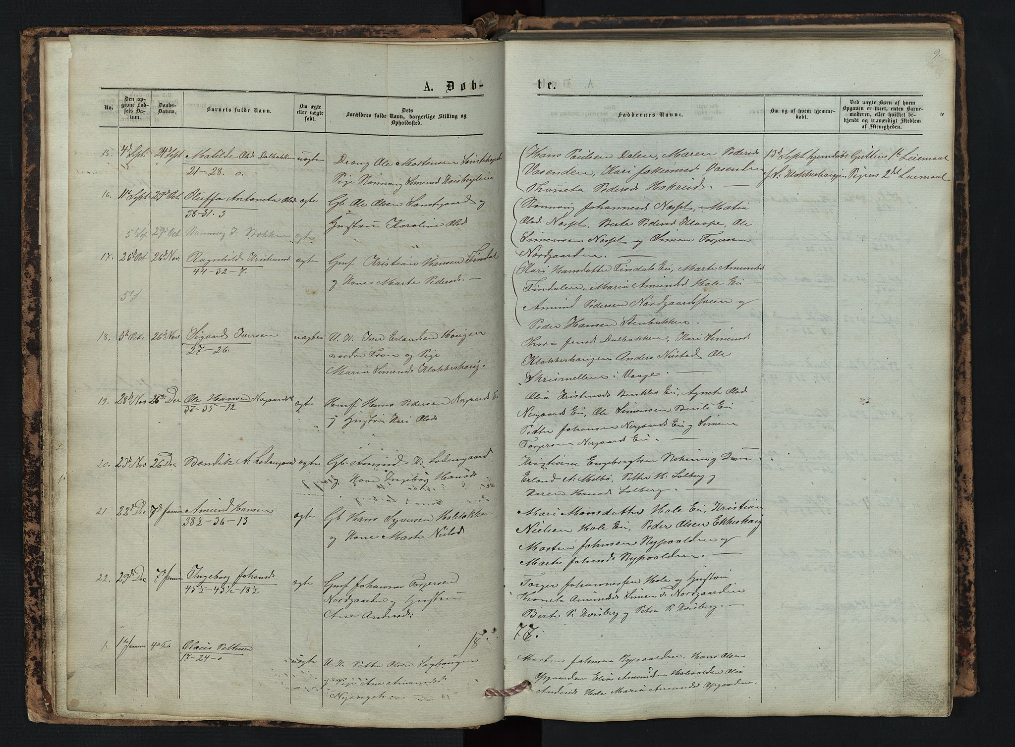 SAH, Vestre Gausdal prestekontor, Klokkerbok nr. 2, 1874-1897, s. 9