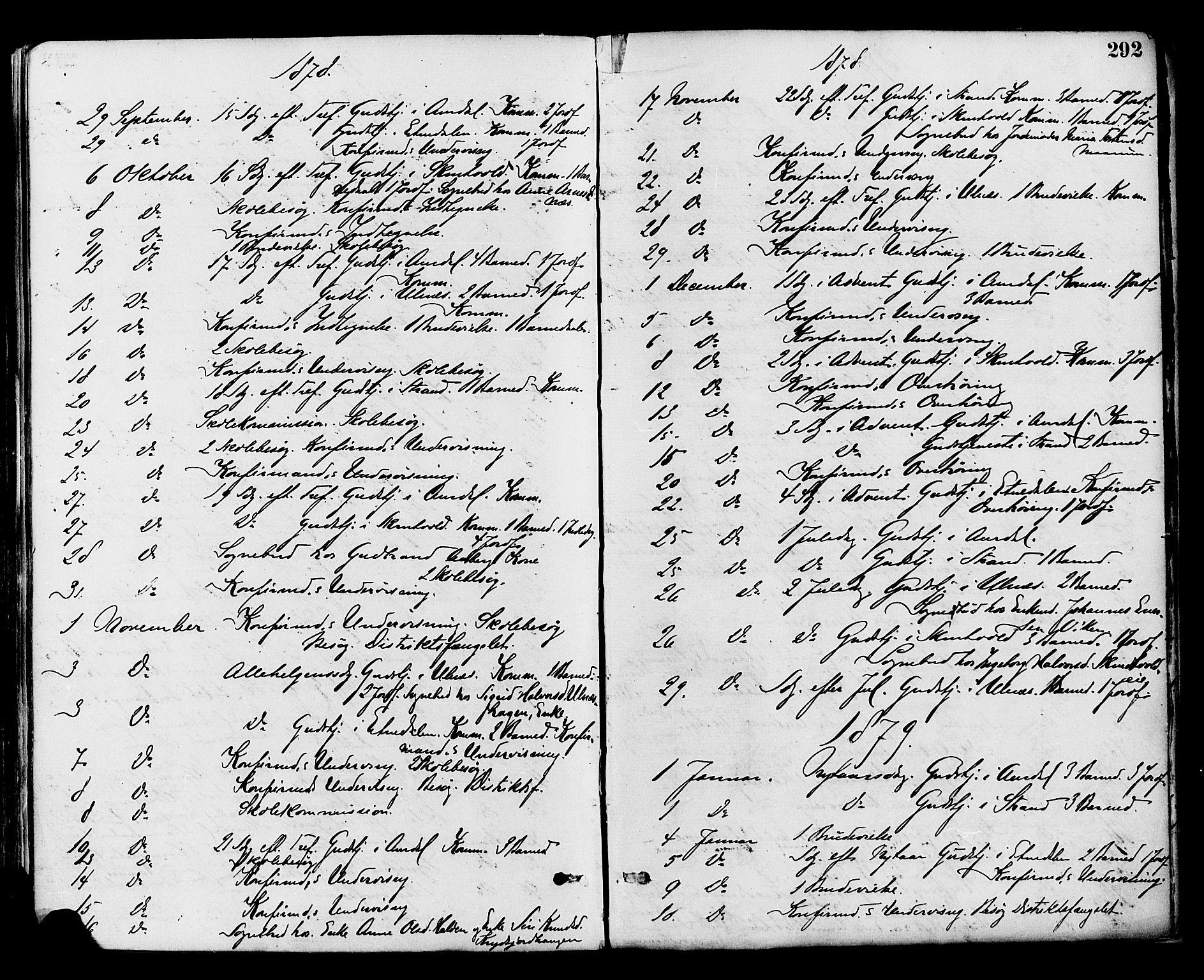SAH, Nord-Aurdal prestekontor, Ministerialbok nr. 9, 1876-1882, s. 292