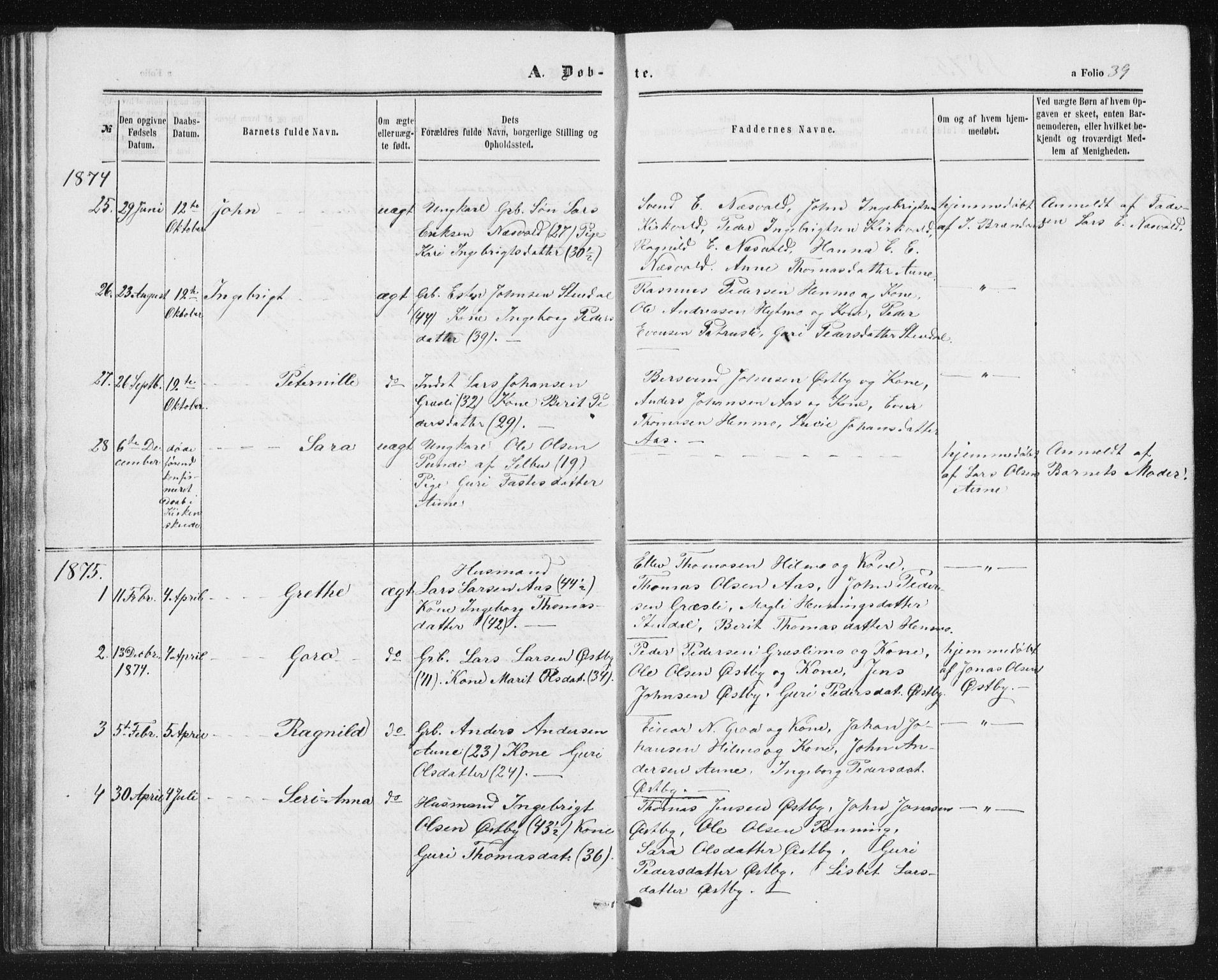 SAT, Ministerialprotokoller, klokkerbøker og fødselsregistre - Sør-Trøndelag, 698/L1166: Klokkerbok nr. 698C03, 1861-1887, s. 39