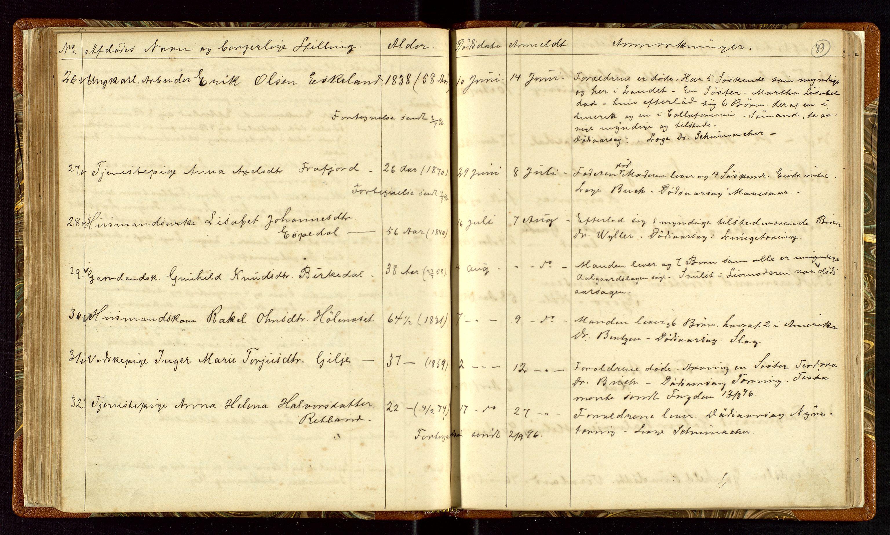 """SAST, Høle og Forsand lensmannskontor, Gga/L0001: """"Fortegnelse over Afdøde i Høle Thinglag fra 1ste Juli 1875 til """", 1875-1902, s. 89"""
