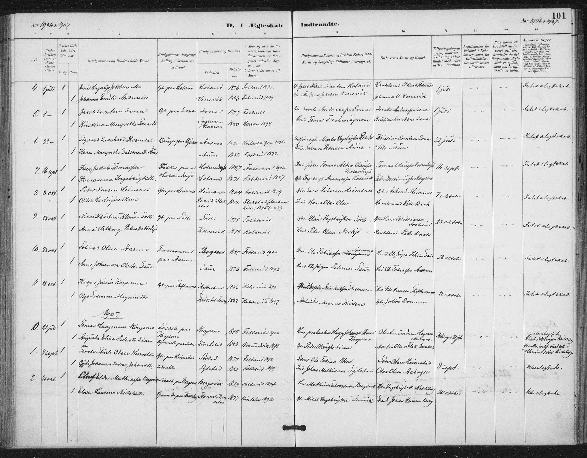 SAT, Ministerialprotokoller, klokkerbøker og fødselsregistre - Nord-Trøndelag, 783/L0660: Ministerialbok nr. 783A02, 1886-1918, s. 101