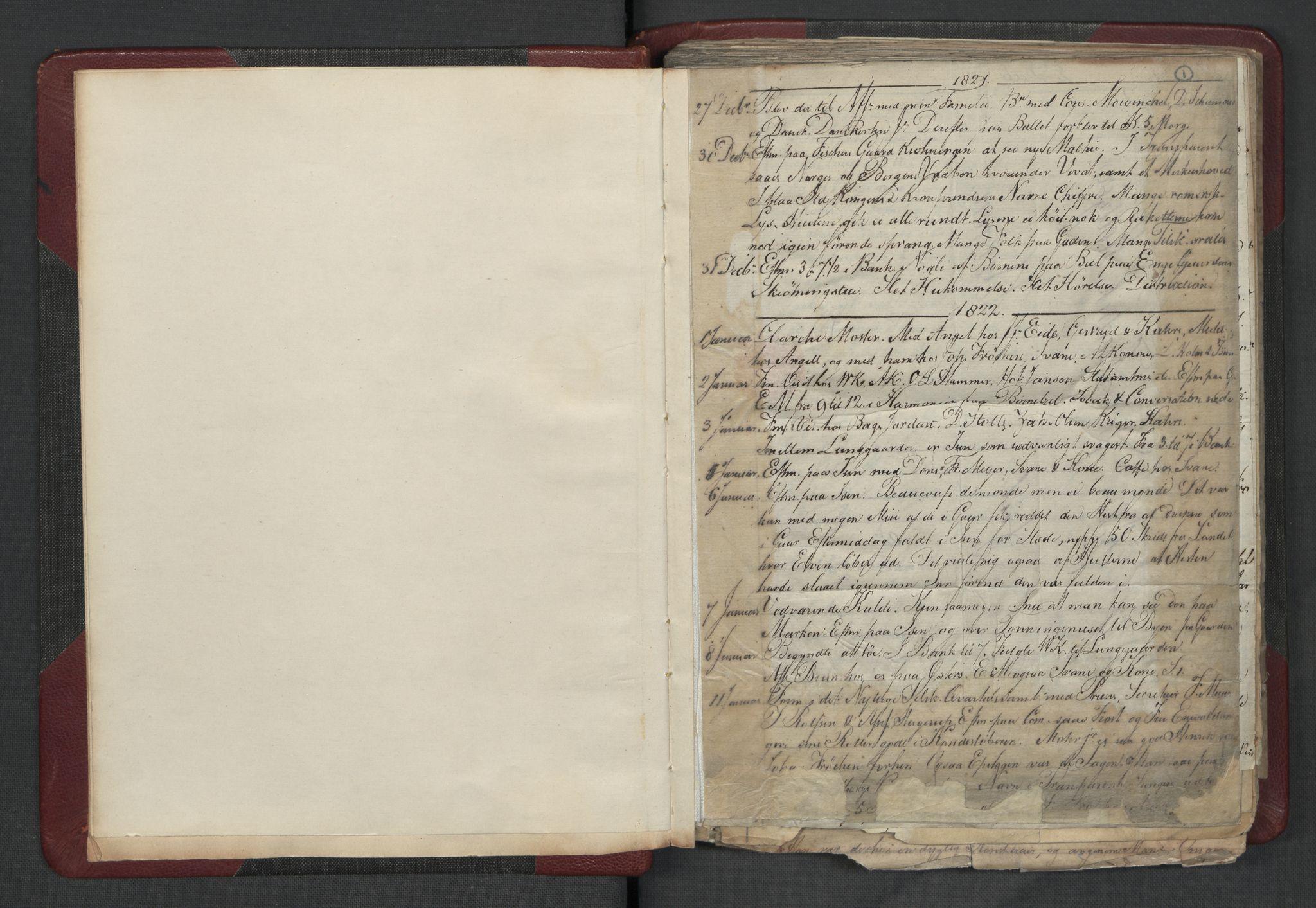 RA, Meltzer, Fredrik, F/L0003: Dagbok, 1821-1831, s. 1a