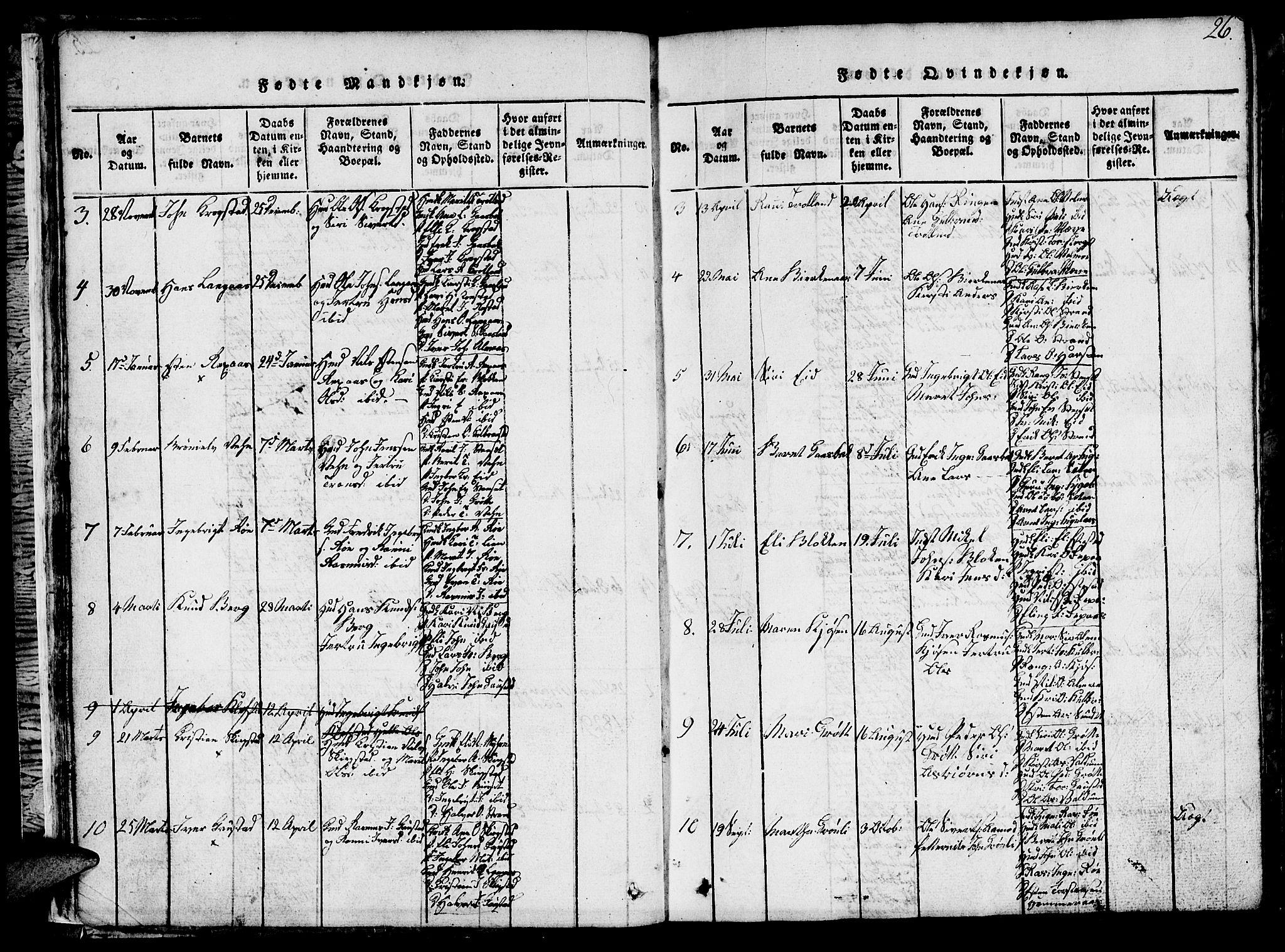 SAT, Ministerialprotokoller, klokkerbøker og fødselsregistre - Sør-Trøndelag, 694/L1130: Klokkerbok nr. 694C02, 1816-1857, s. 26