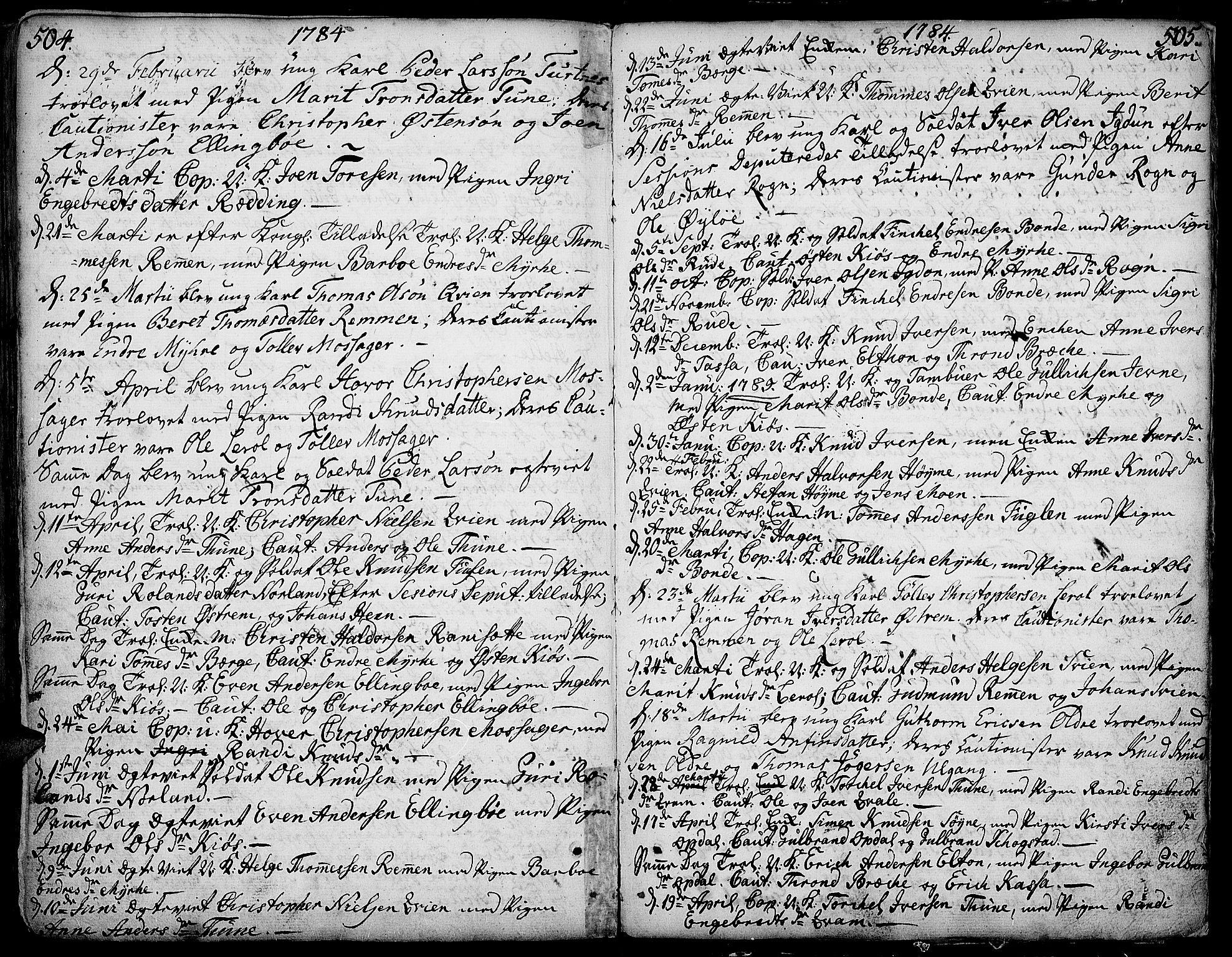 SAH, Vang prestekontor, Valdres, Ministerialbok nr. 1, 1730-1796, s. 504-505