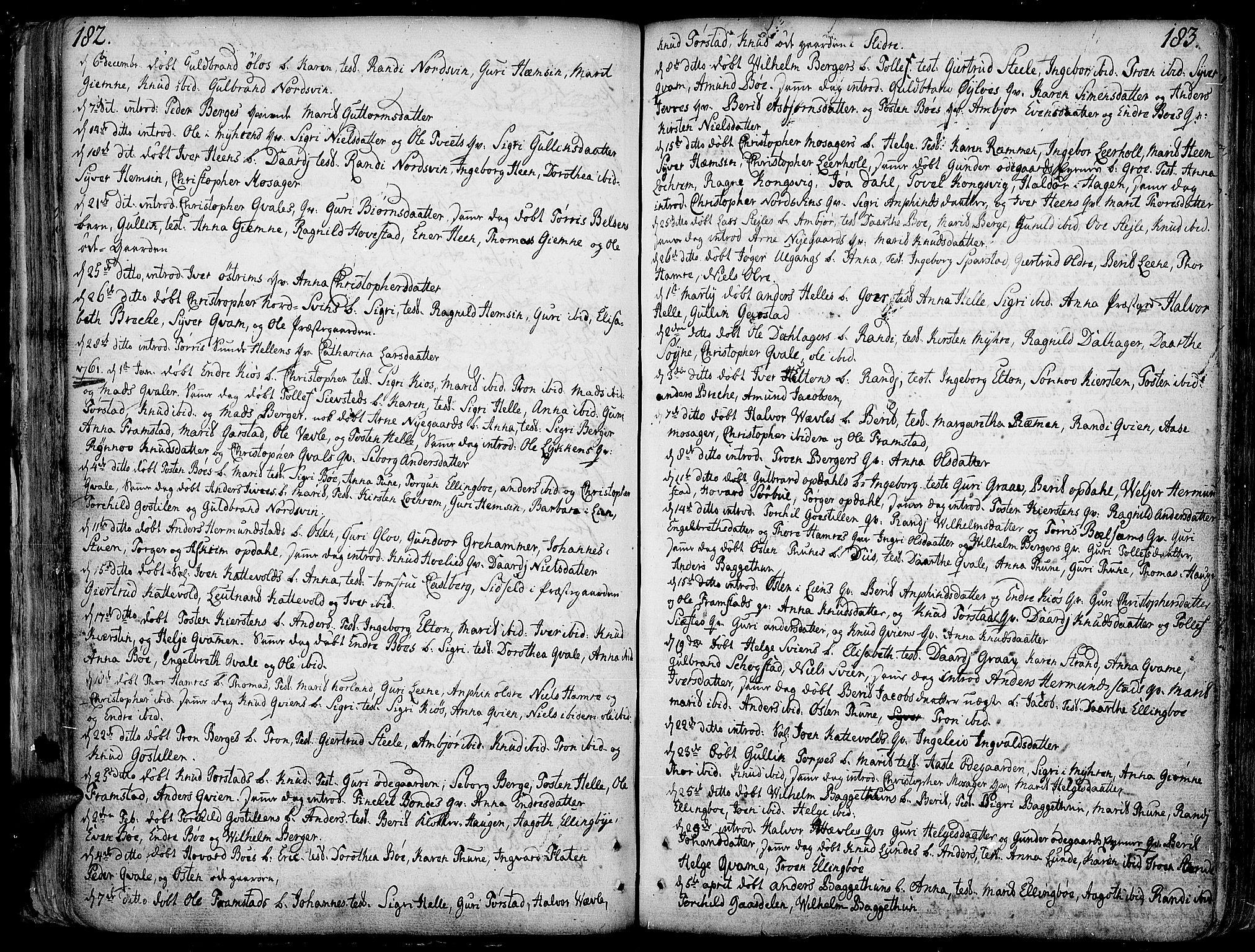 SAH, Vang prestekontor, Valdres, Ministerialbok nr. 1, 1730-1796, s. 182-183