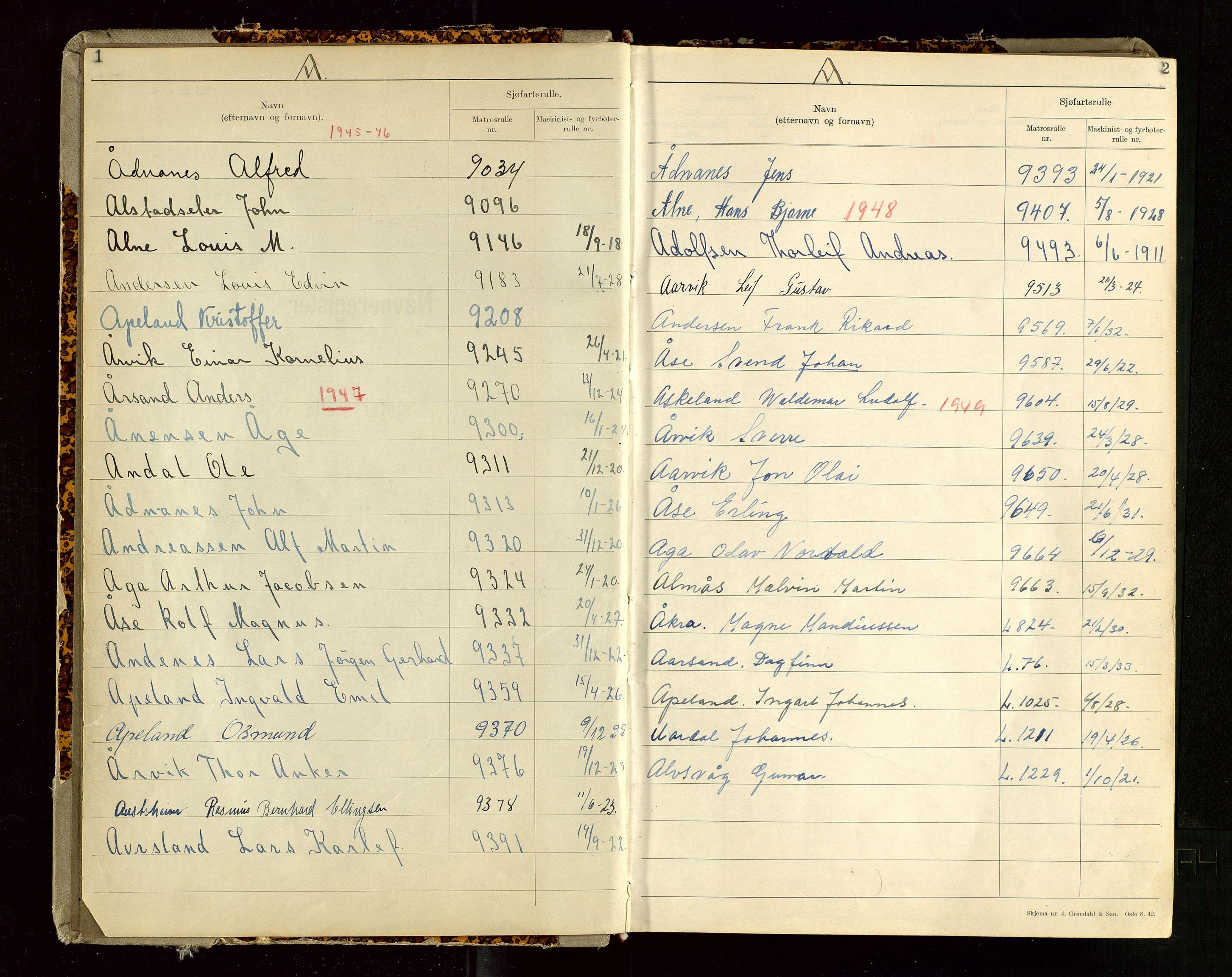 SAST, Haugesund sjømannskontor, F/Fb/Fba/L0007: Navneregister med henvisning til rullenummer (etternavn) Haugesund krets , 1944, s. 1-2