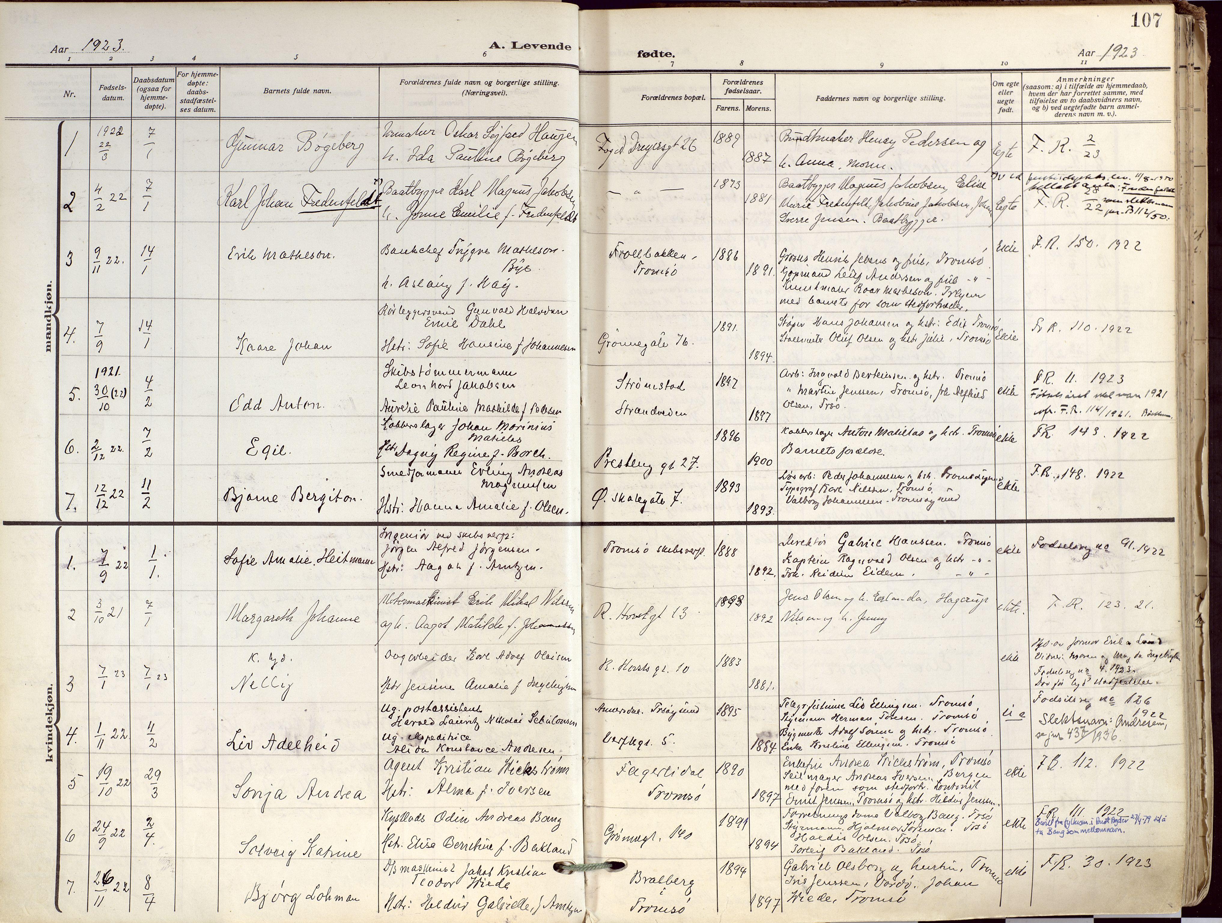 SATØ, Tromsø sokneprestkontor/stiftsprosti/domprosti, G/Ga/L0019kirke: Ministerialbok nr. 19, 1917-1927, s. 107