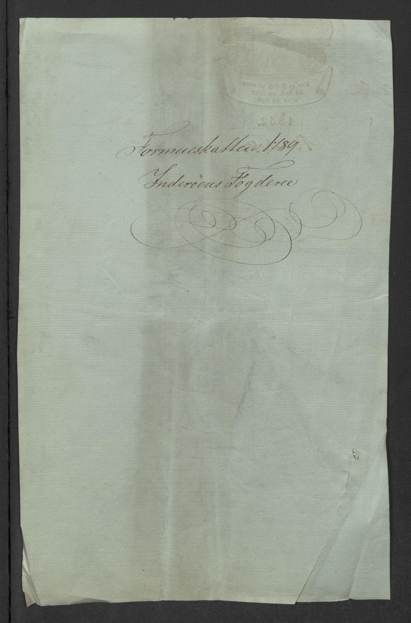 RA, Rentekammeret inntil 1814, Reviderte regnskaper, Mindre regnskaper, Rf/Rfe/L0017: Inderøy fogderi, Jarlsberg grevskap, 1789, s. 3