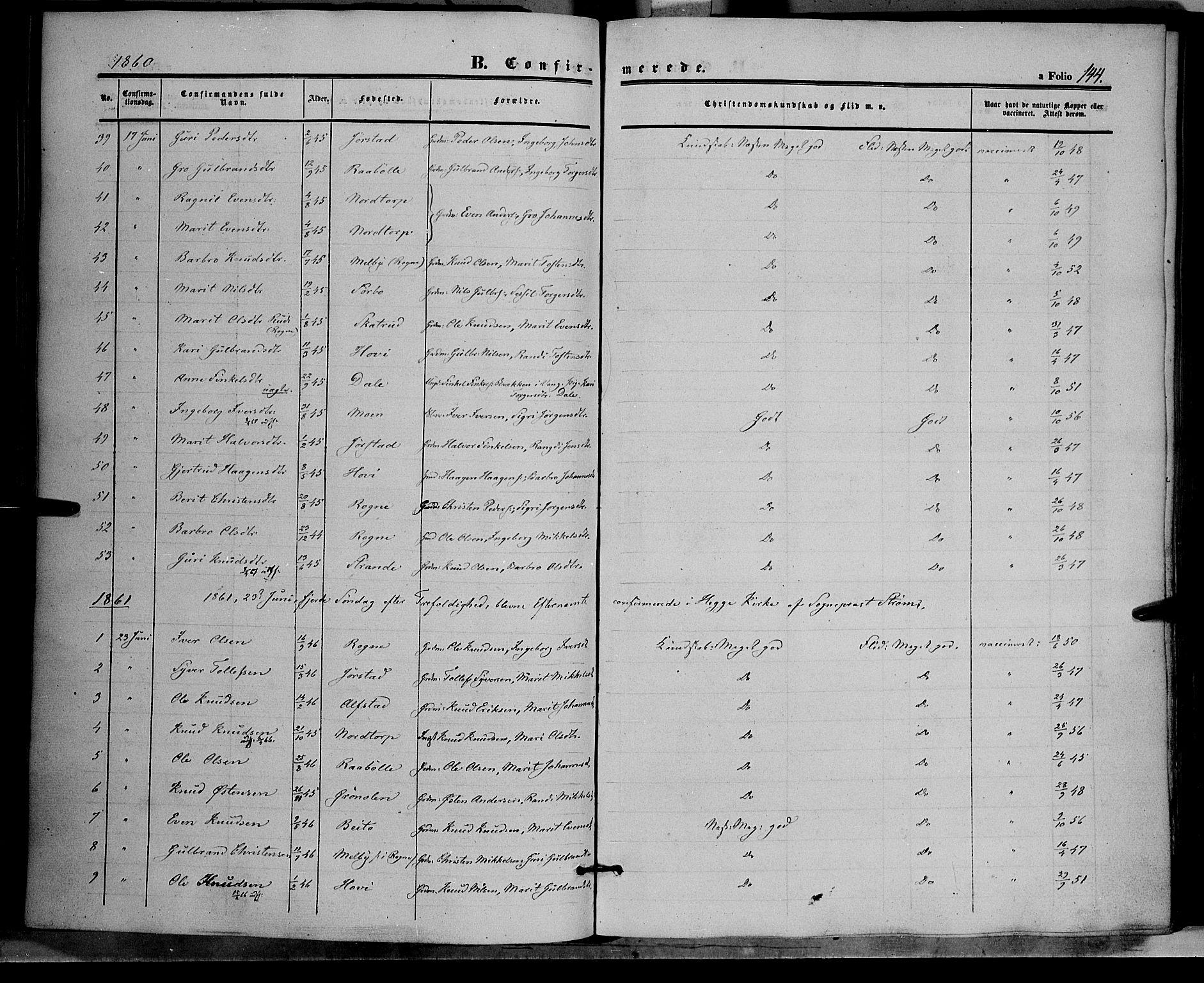 SAH, Øystre Slidre prestekontor, Ministerialbok nr. 1, 1849-1874, s. 144