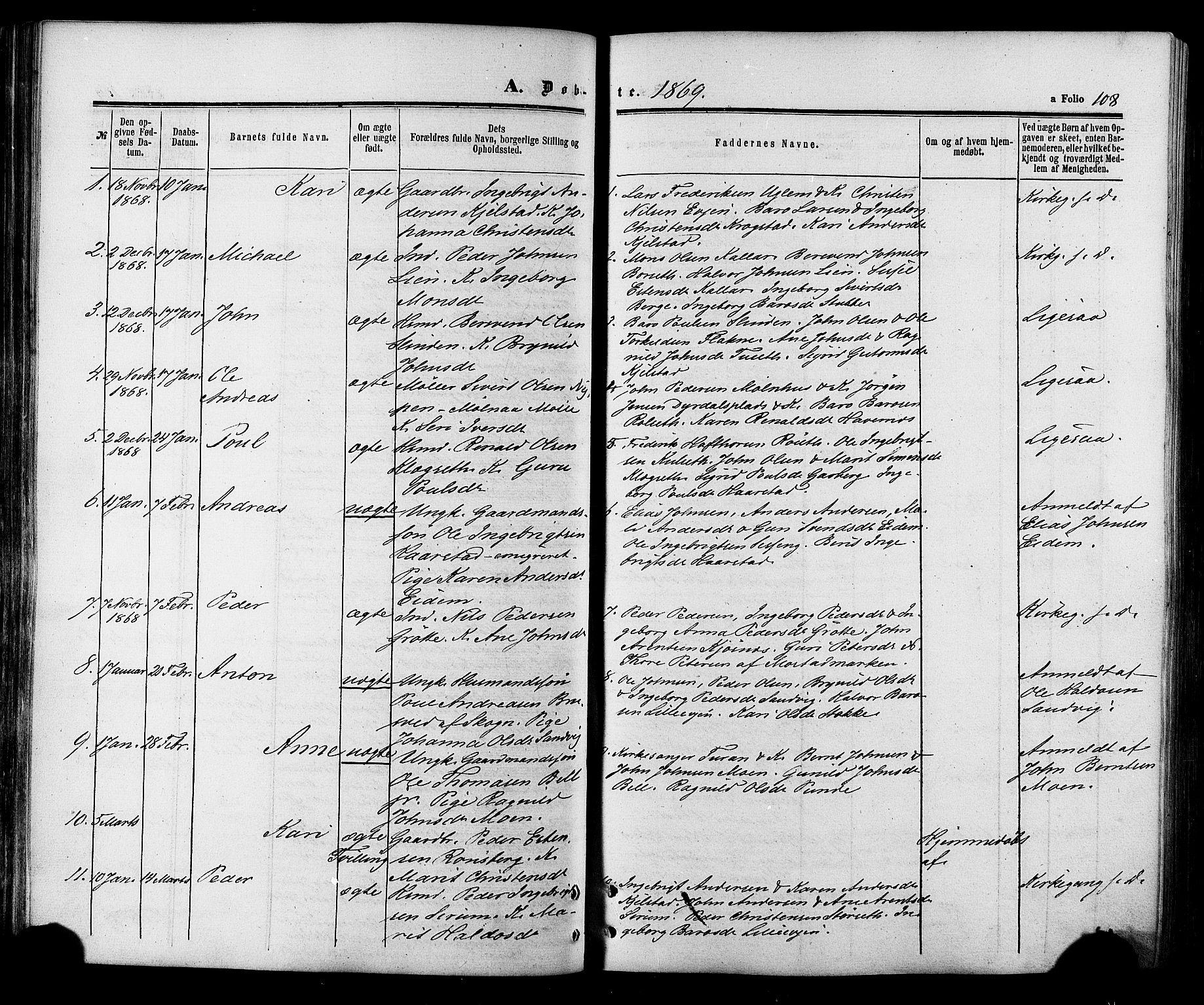 SAT, Ministerialprotokoller, klokkerbøker og fødselsregistre - Sør-Trøndelag, 695/L1147: Ministerialbok nr. 695A07, 1860-1877, s. 108