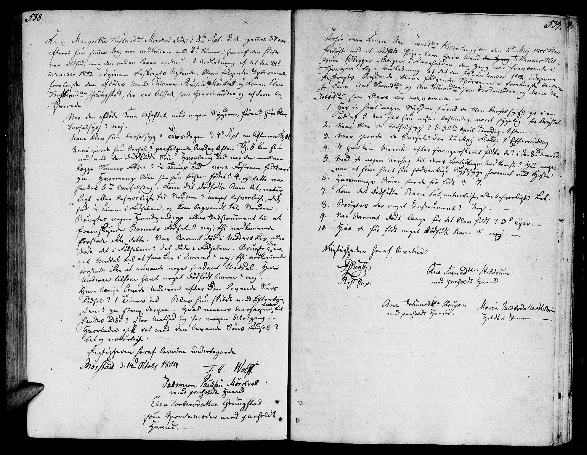 SAT, Ministerialprotokoller, klokkerbøker og fødselsregistre - Nord-Trøndelag, 764/L0545: Ministerialbok nr. 764A05, 1799-1816, s. 538-539