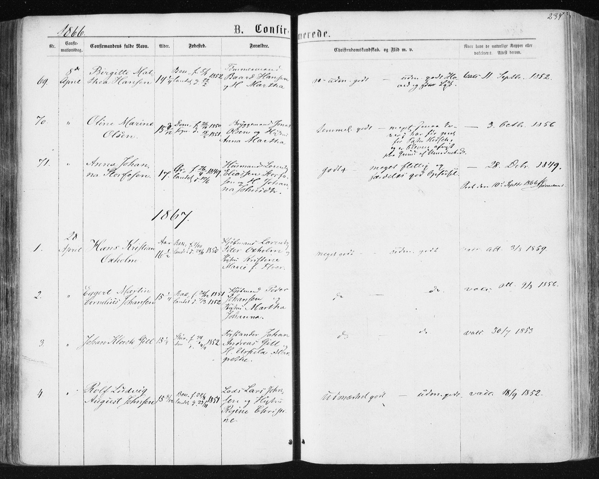 SAT, Ministerialprotokoller, klokkerbøker og fødselsregistre - Sør-Trøndelag, 604/L0186: Ministerialbok nr. 604A07, 1866-1877, s. 237