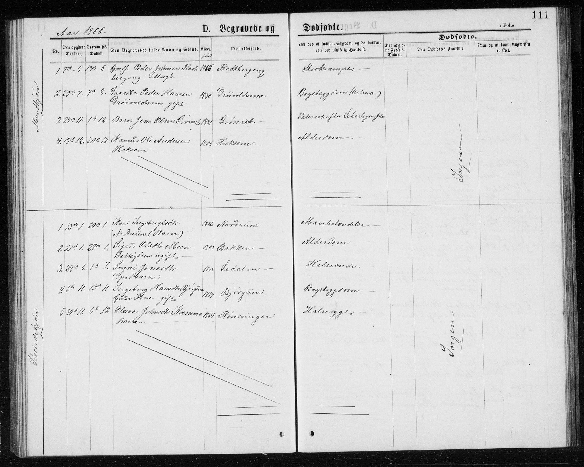 SAT, Ministerialprotokoller, klokkerbøker og fødselsregistre - Sør-Trøndelag, 685/L0977: Klokkerbok nr. 685C02, 1879-1890, s. 111