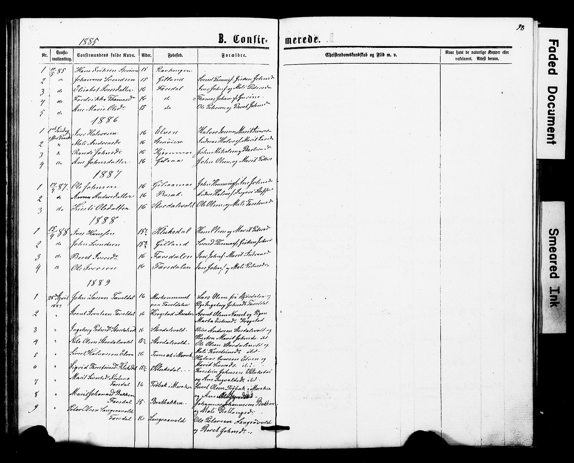 SAT, Ministerialprotokoller, klokkerbøker og fødselsregistre - Nord-Trøndelag, 707/L0052: Klokkerbok nr. 707C01, 1864-1897, s. 38