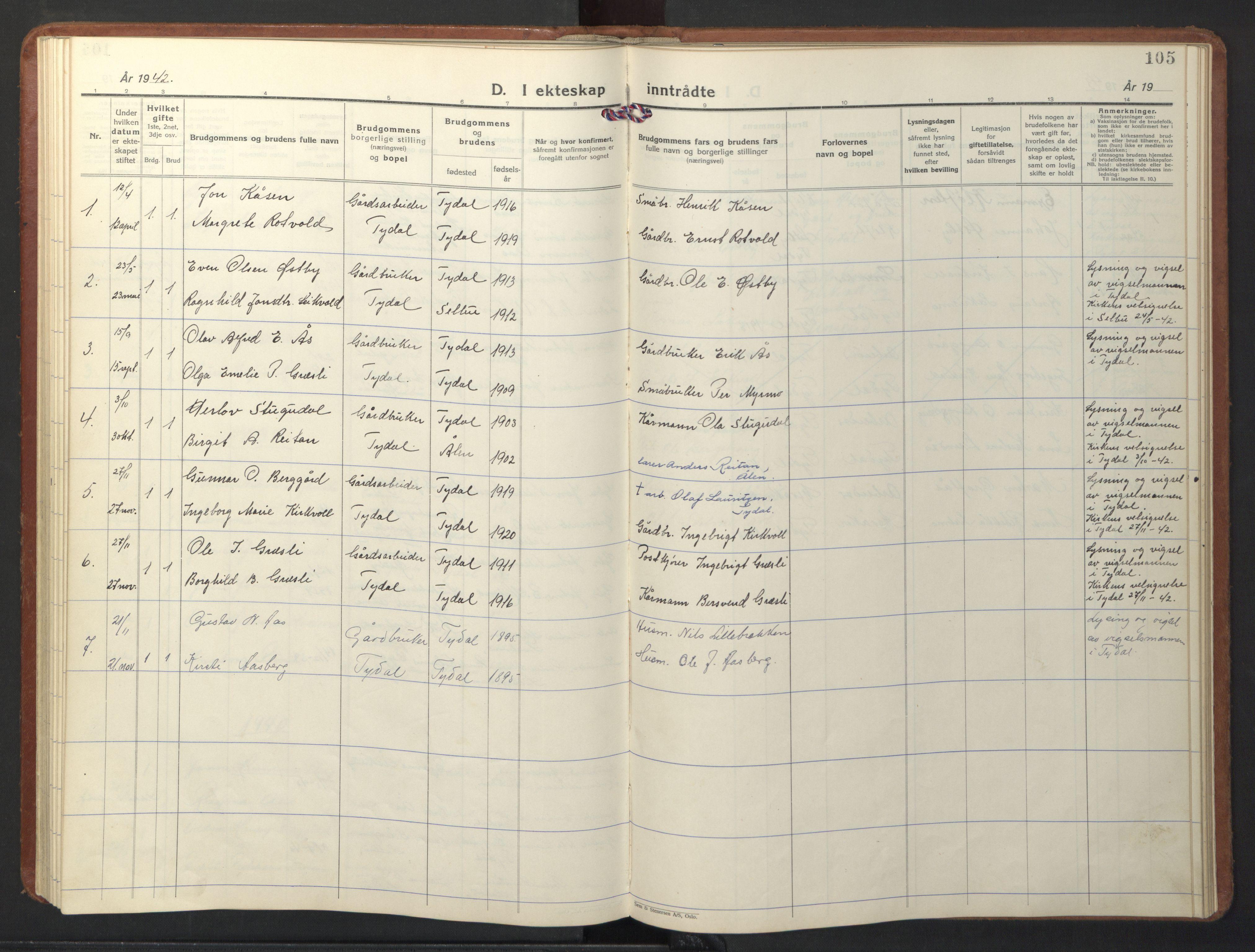 SAT, Ministerialprotokoller, klokkerbøker og fødselsregistre - Sør-Trøndelag, 698/L1169: Klokkerbok nr. 698C06, 1930-1949, s. 105