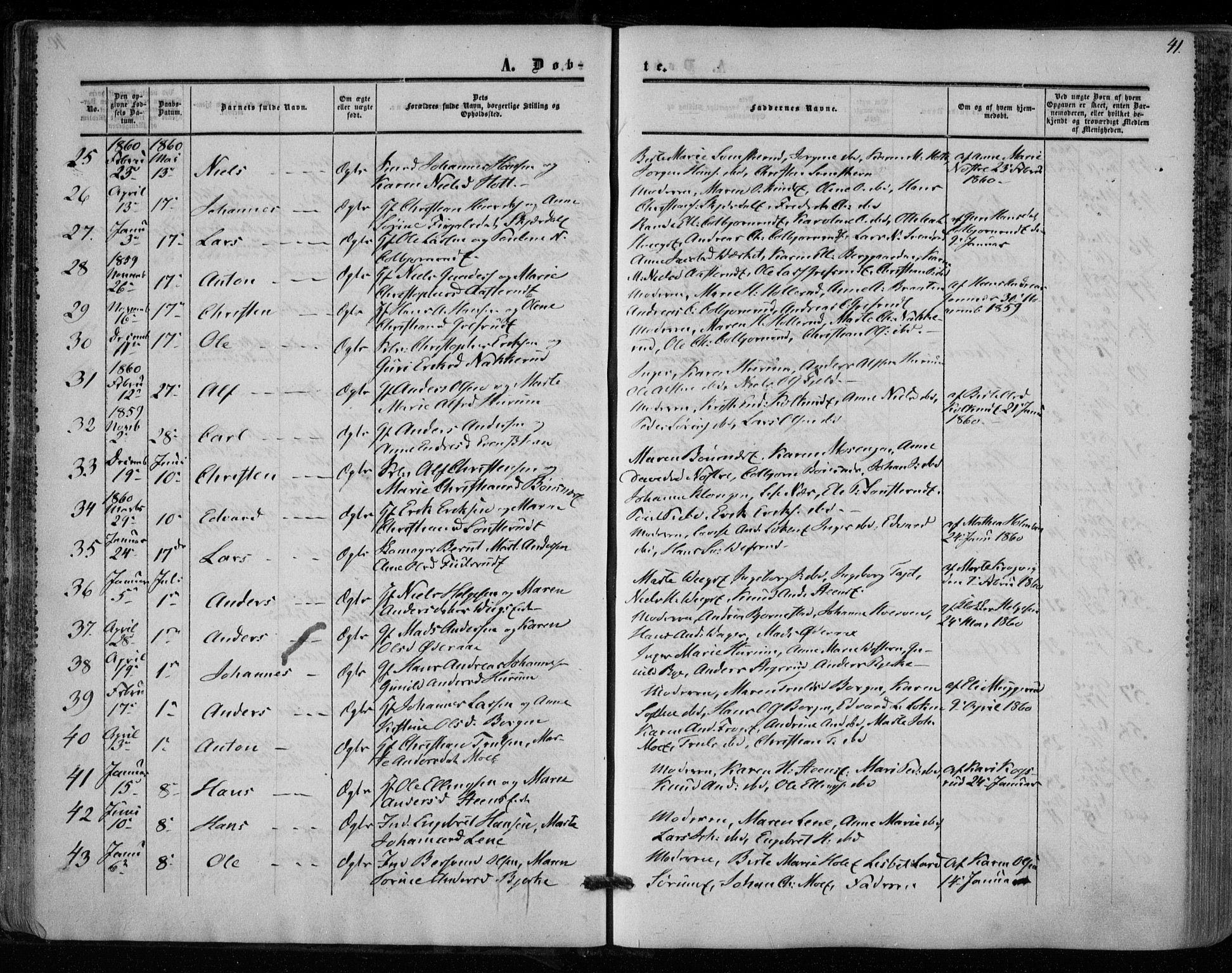 SAKO, Hole kirkebøker, F/Fa/L0006: Ministerialbok nr. I 6, 1852-1872, s. 41