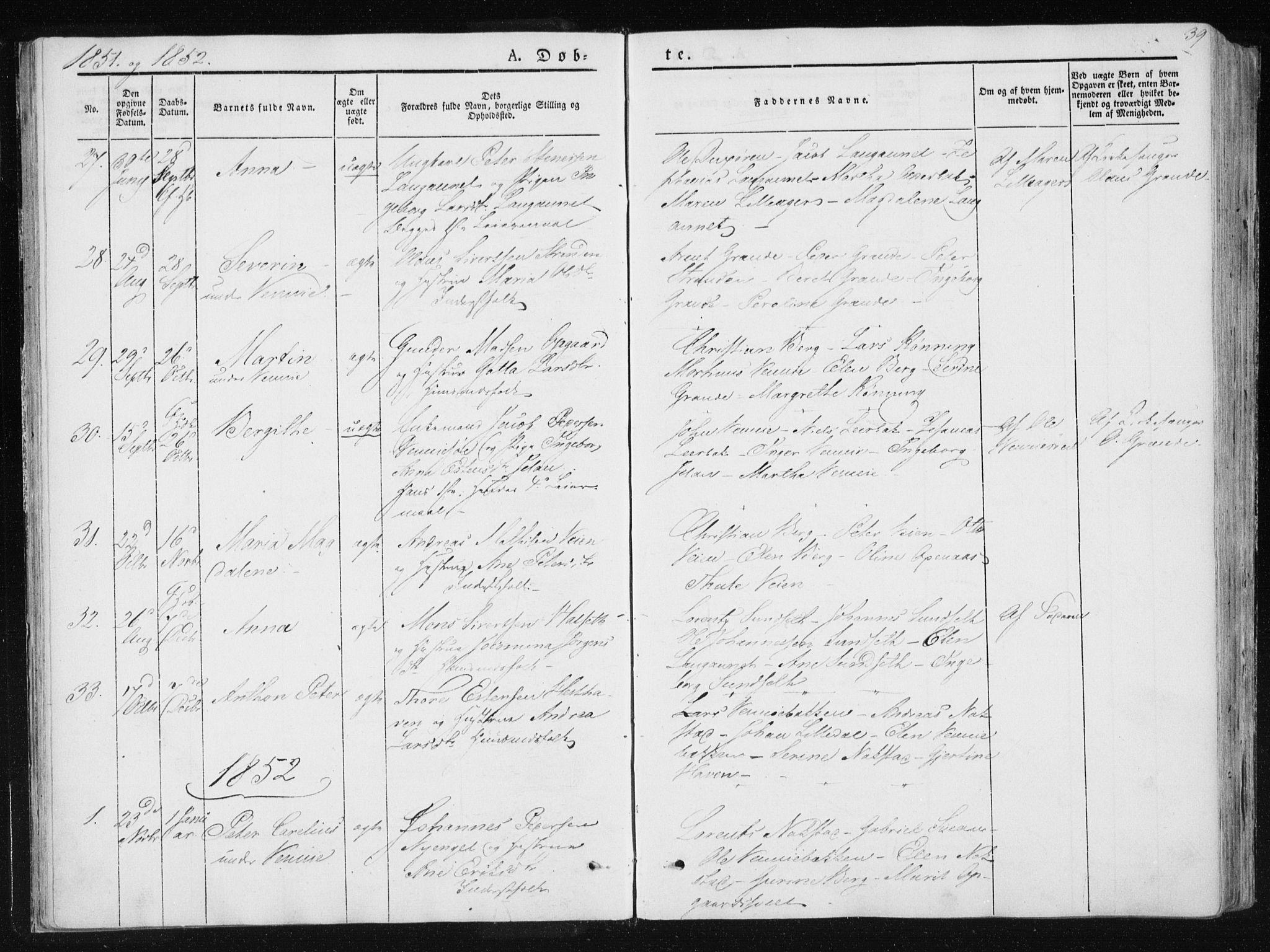 SAT, Ministerialprotokoller, klokkerbøker og fødselsregistre - Nord-Trøndelag, 733/L0323: Ministerialbok nr. 733A02, 1843-1870, s. 39