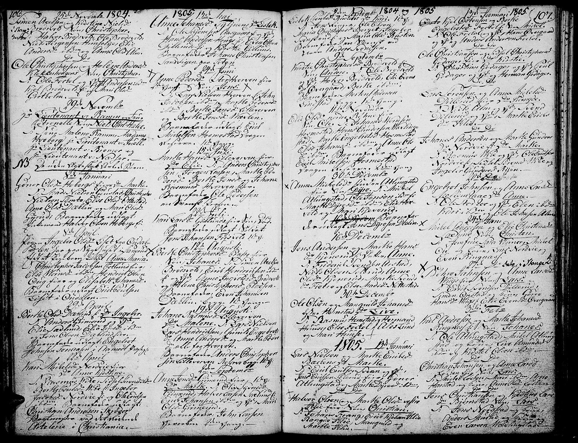 SAH, Stange prestekontor, K/L0007: Ministerialbok nr. 7, 1788-1813, s. 106-107