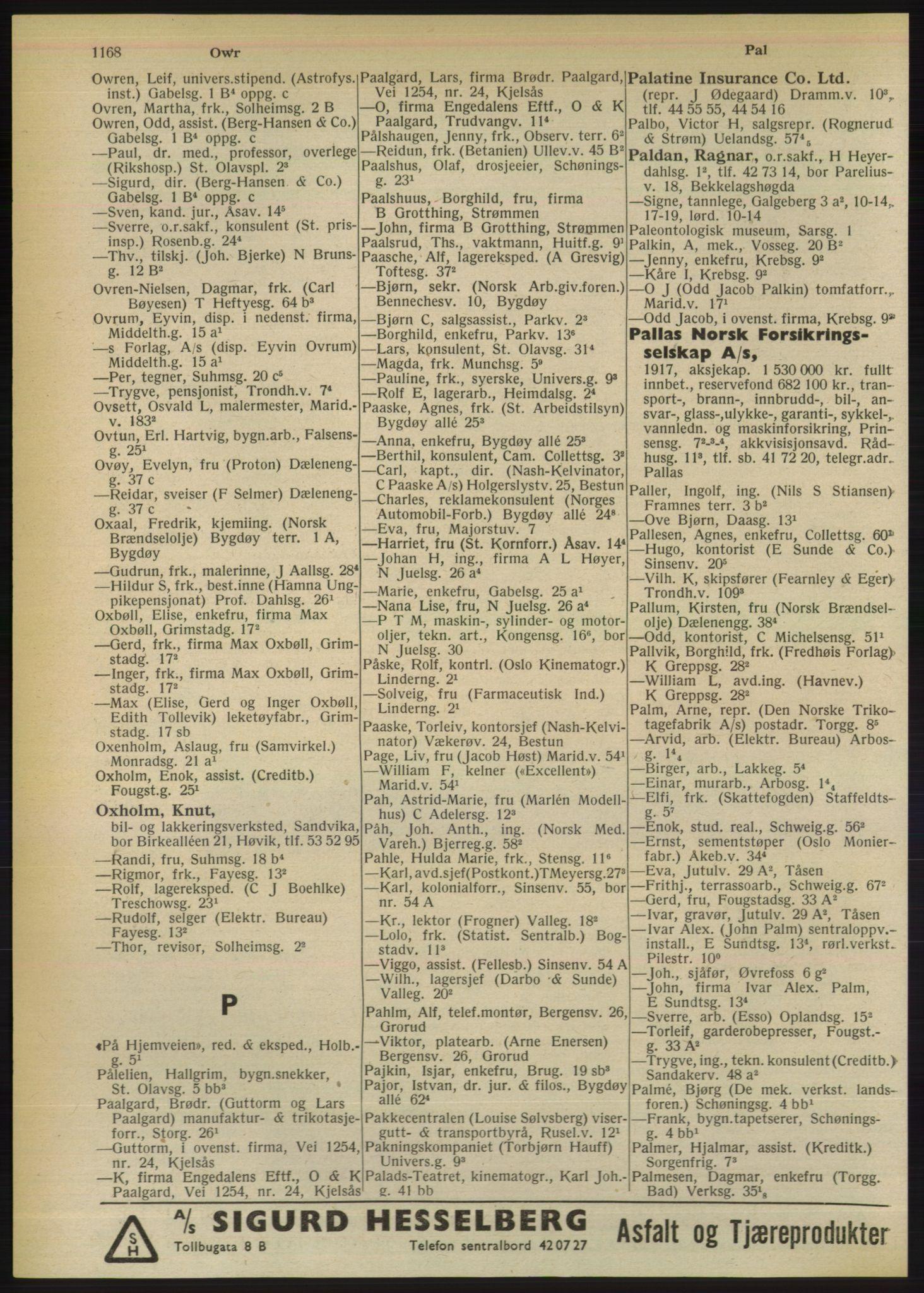 RA, Oslo adressebok (publikasjon)*, 1950, s. 1168