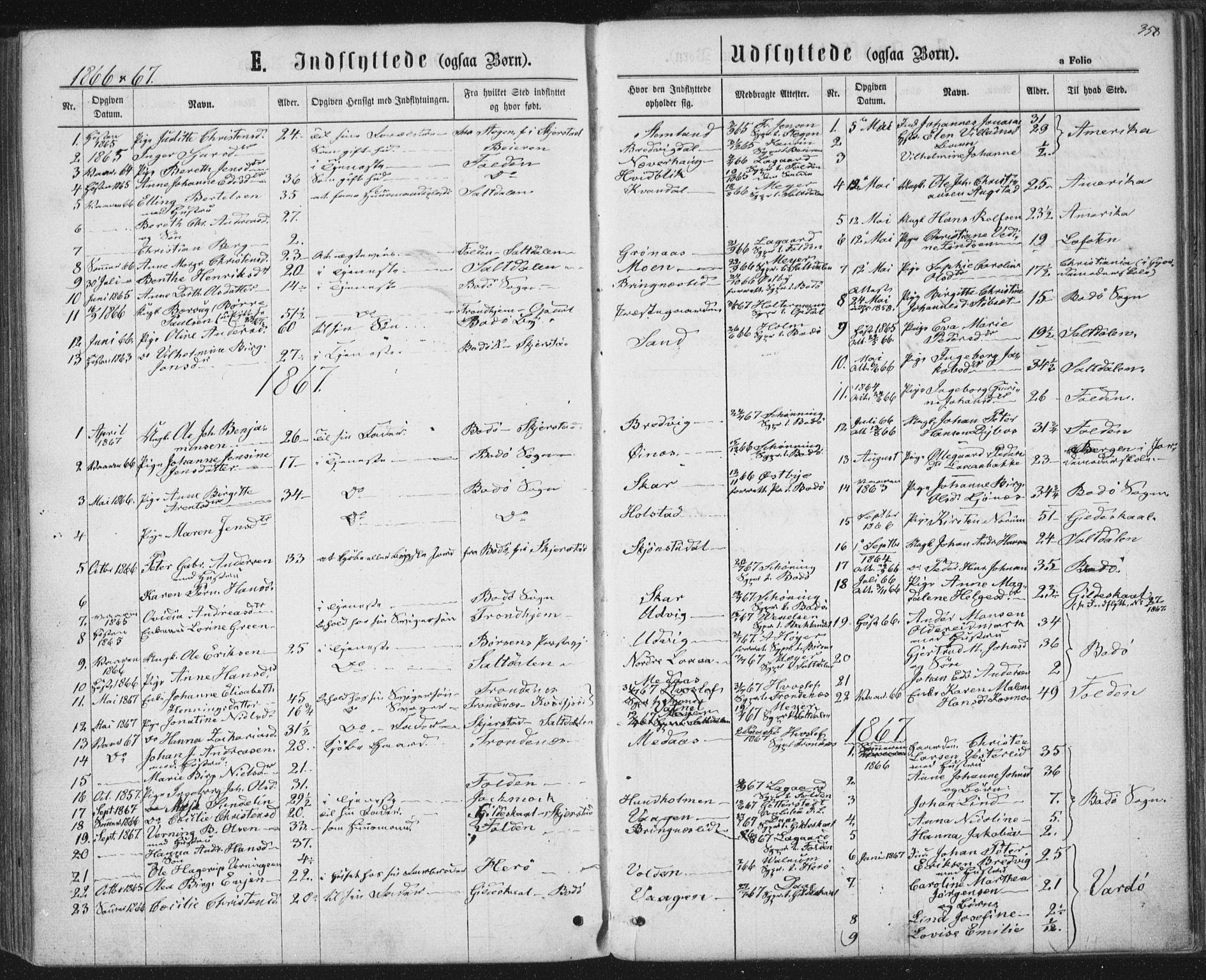 SAT, Ministerialprotokoller, klokkerbøker og fødselsregistre - Nordland, 852/L0739: Ministerialbok nr. 852A09, 1866-1877, s. 358