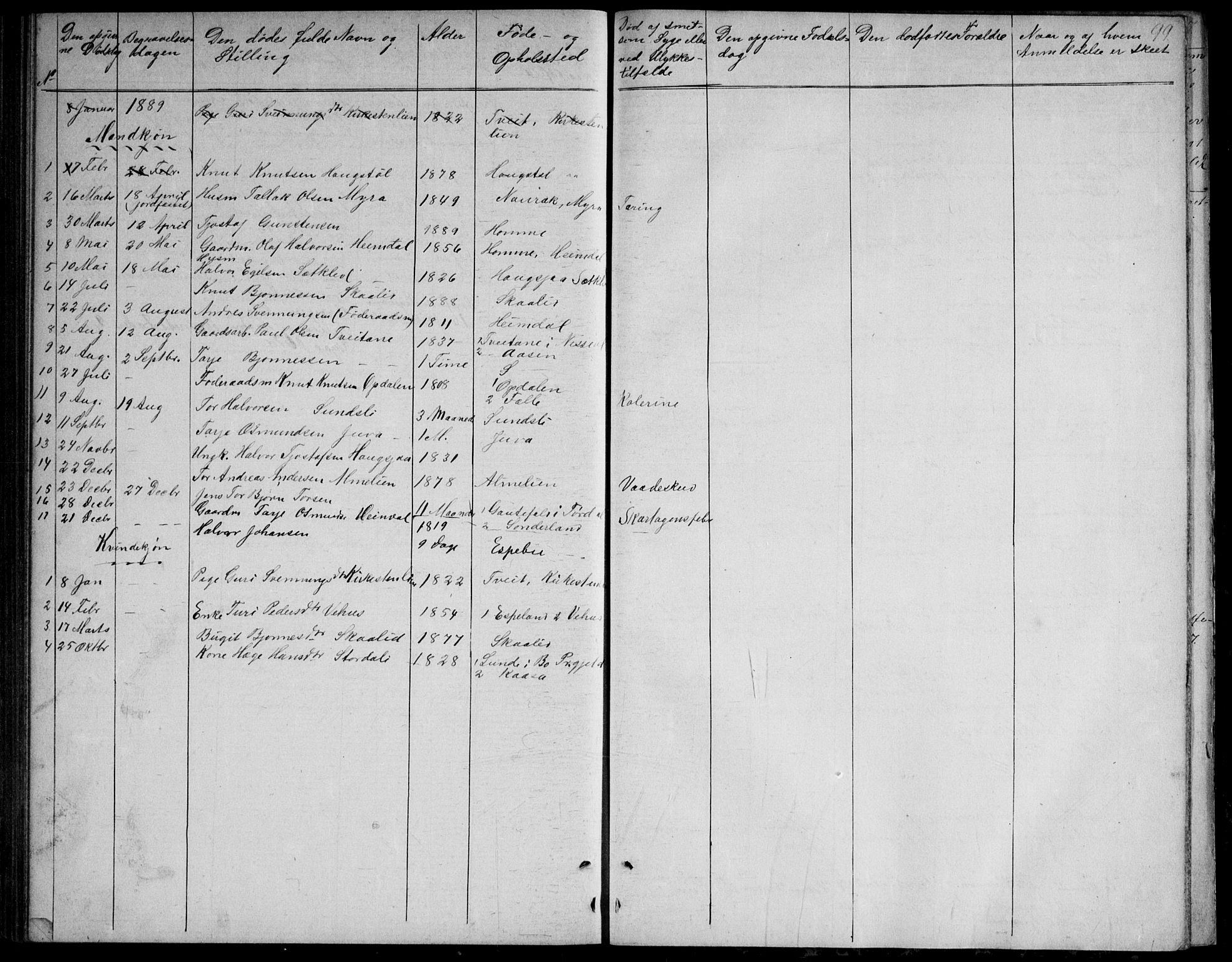 SAKO, Nissedal kirkebøker, G/Gb/L0002: Klokkerbok nr. II 2, 1863-1892, s. 99