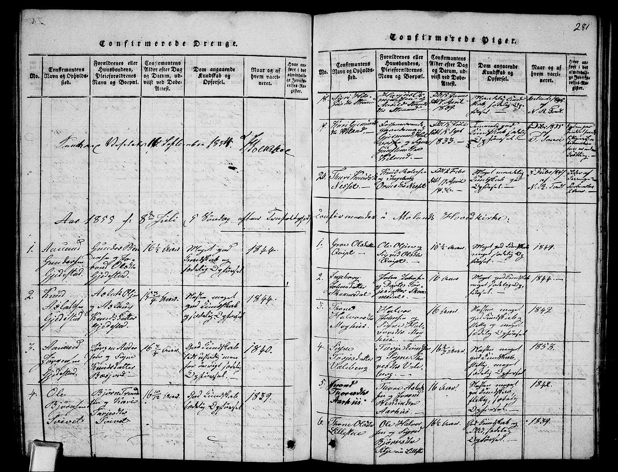 SAKO, Fyresdal kirkebøker, G/Ga/L0002: Klokkerbok nr. I 2, 1815-1857, s. 281