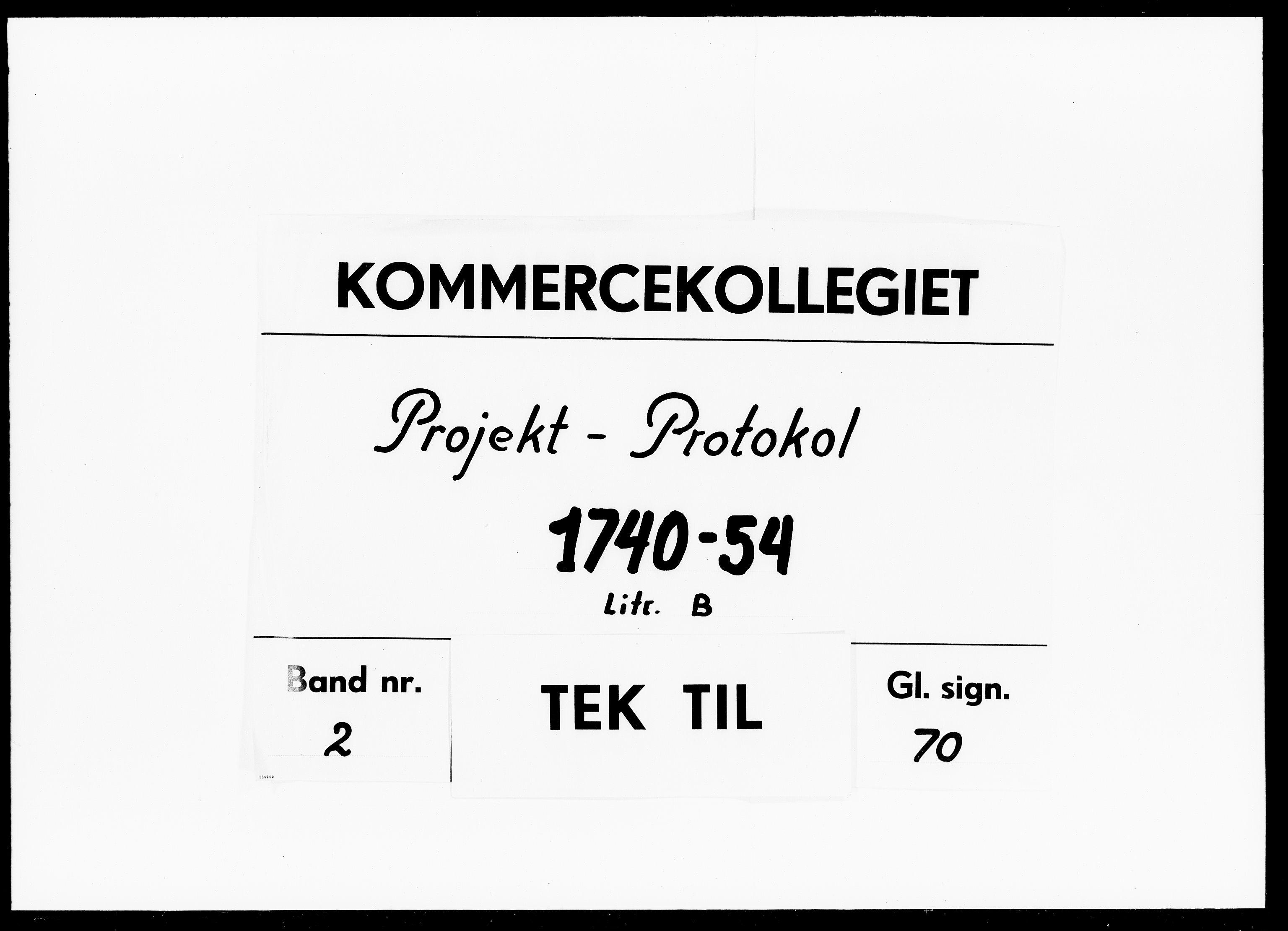 DRA, Kommercekollegiet, Dansk-Norske Sekretariat, -/38: Projekt Protokol B, 1740-1754