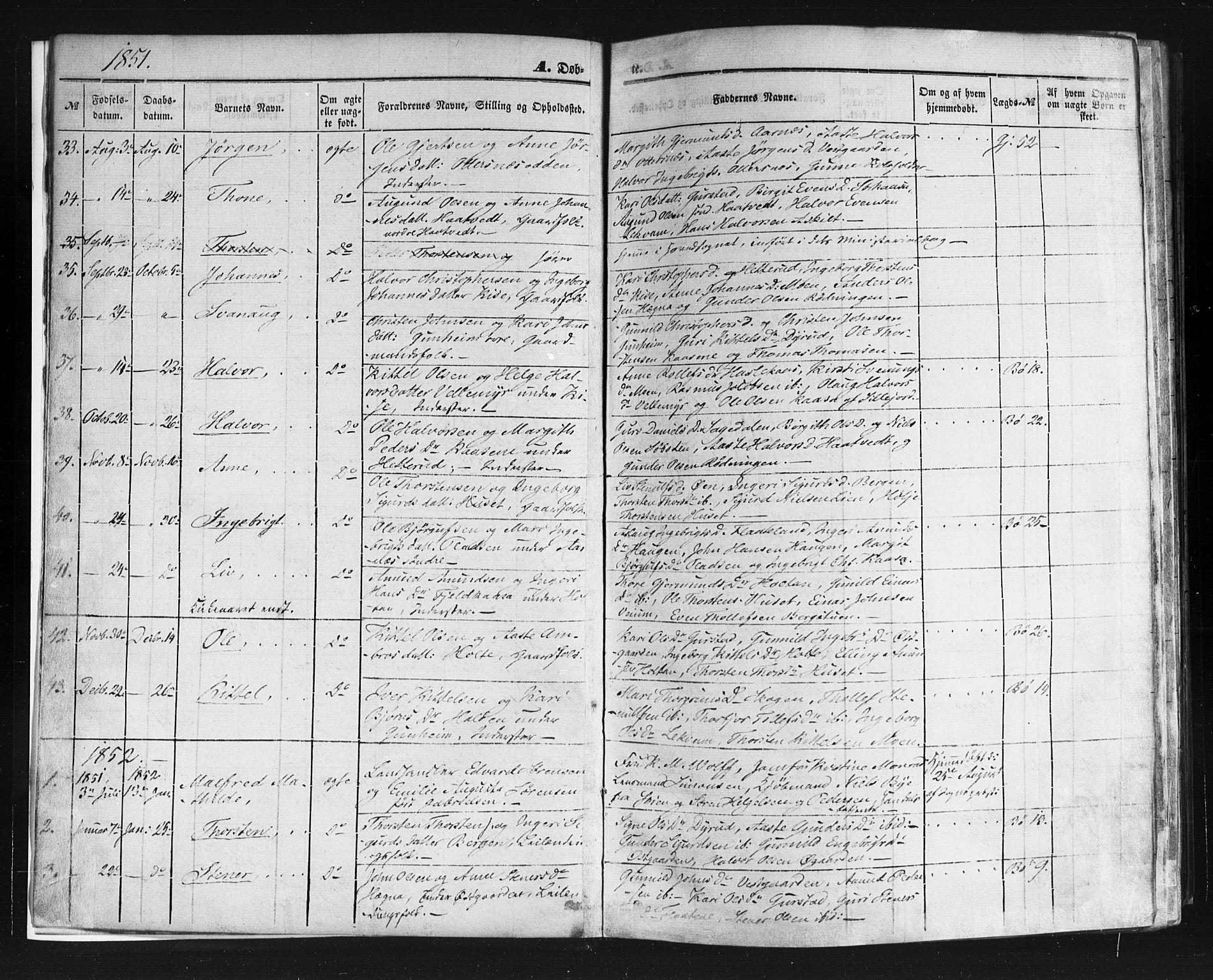 SAKO, Sauherad kirkebøker, F/Fb/L0001: Ministerialbok nr. II 1, 1851-1877, s. 3