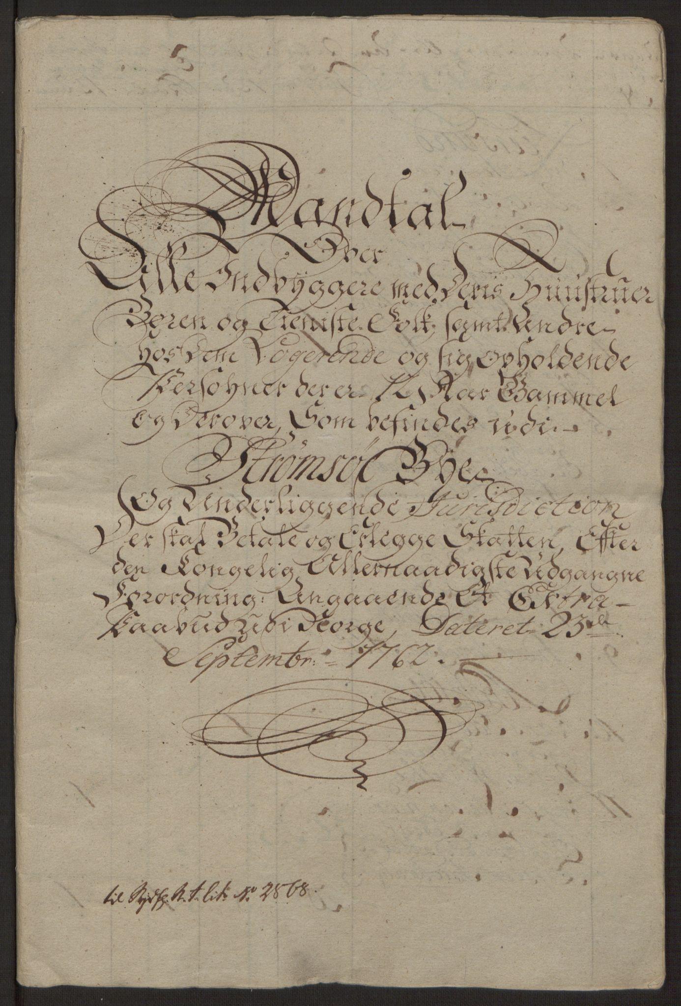 RA, Rentekammeret inntil 1814, Reviderte regnskaper, Byregnskaper, R/Rg/L0144: [G4] Kontribusjonsregnskap, 1762-1767, s. 12