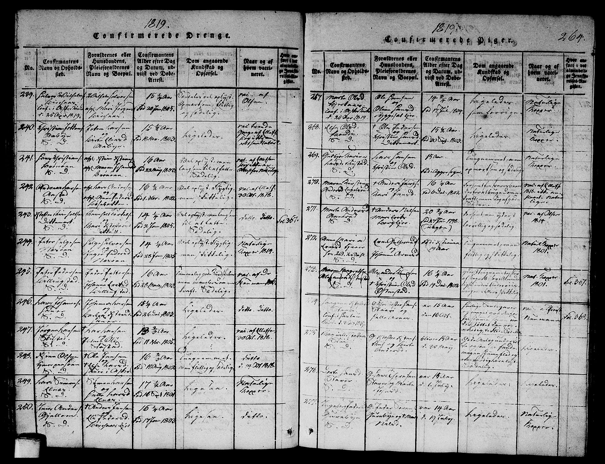 SAO, Asker prestekontor Kirkebøker, G/Ga/L0001: Klokkerbok nr. I 1, 1814-1830, s. 264