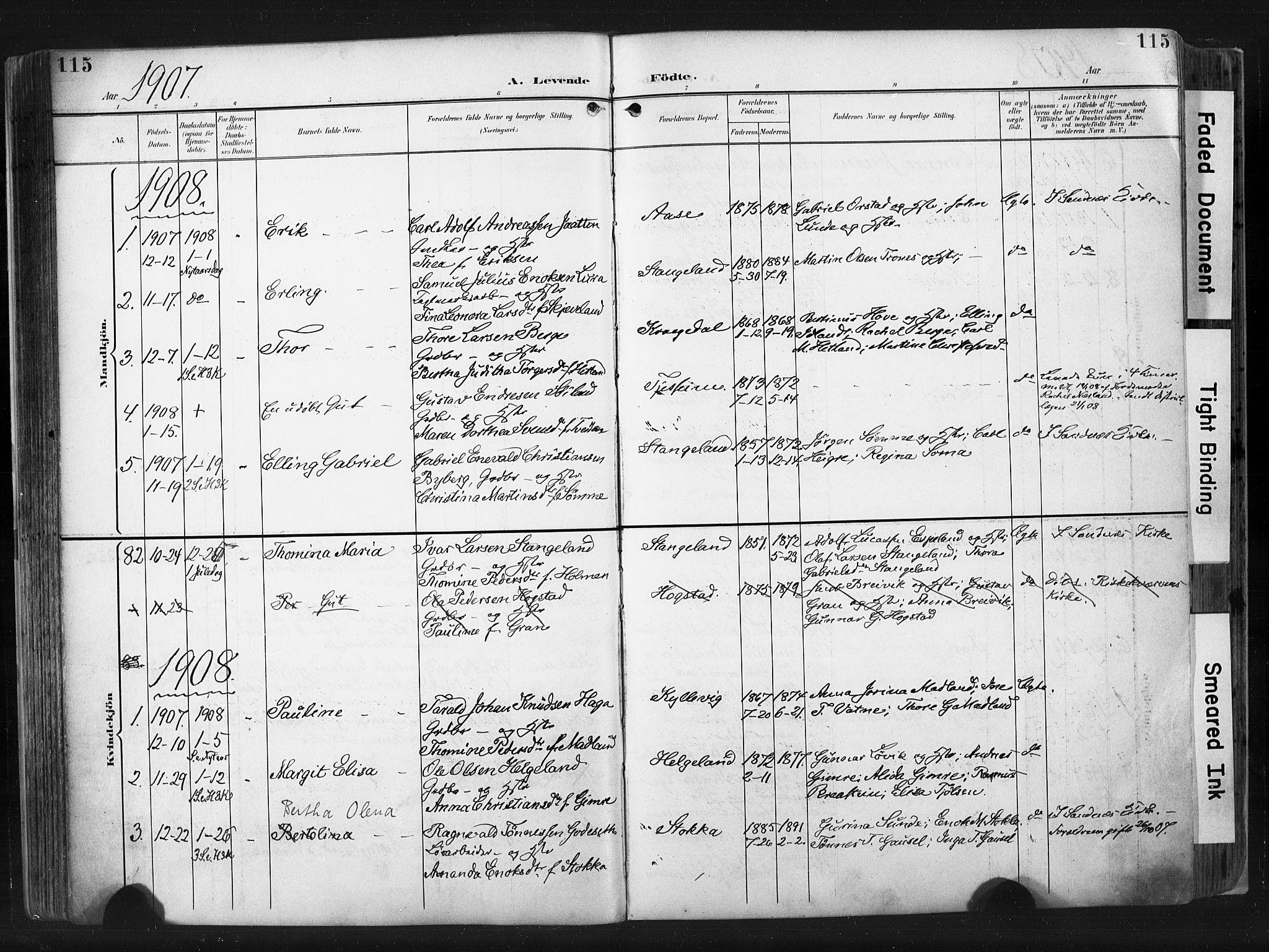 SAST, Høyland sokneprestkontor, 30BA/L0015: Ministerialbok nr. A 14, 1899-1911, s. 115